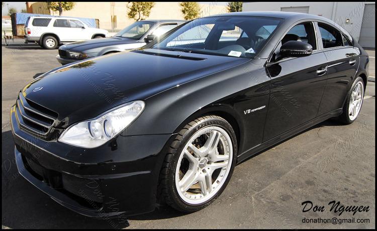 Mercedes Benz CLS63 AMG Sedan - Matte Black Window Trim Vinyl Car Wrap