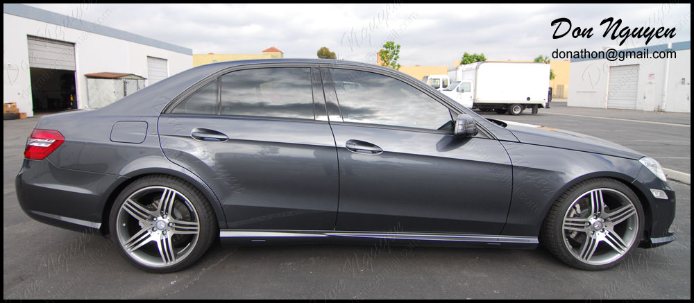 Mercedes Benz E350 Sedan - Matte Black Window Trim Vinyl Car Wrap