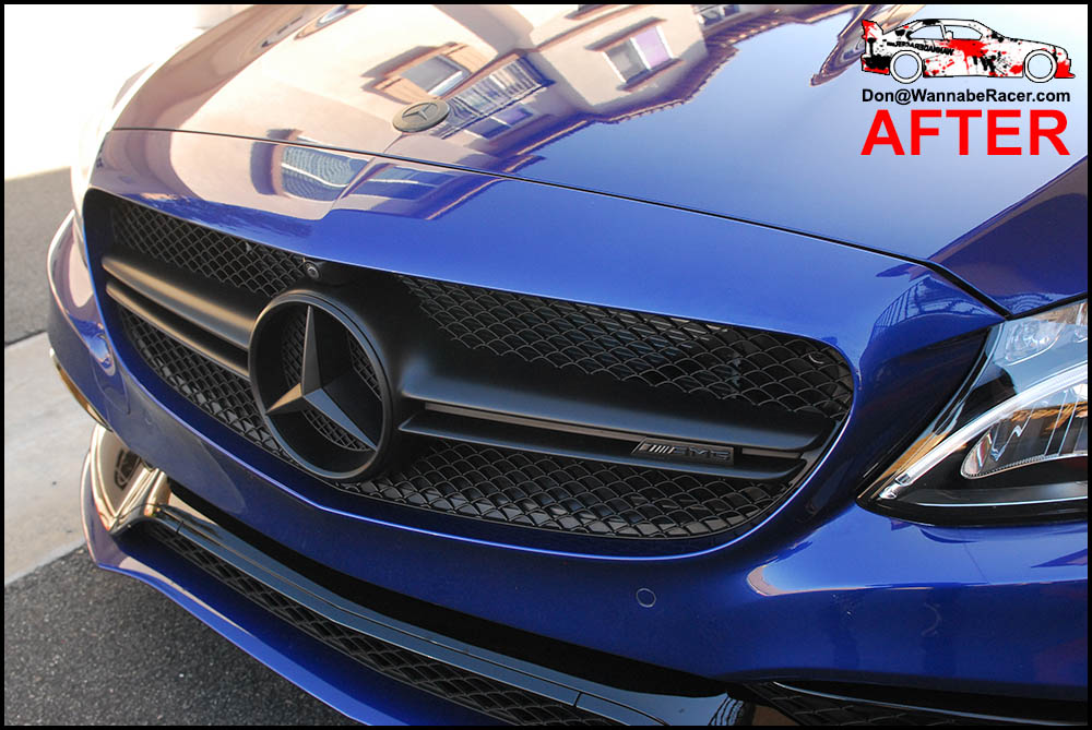 Mercedes Benz C63s Coupe - Plasti Dip Badges and Grill, Tinted Rear Lights, Gloss Black Window Trim, Door Handles, and Roof Vinyl Wrap
