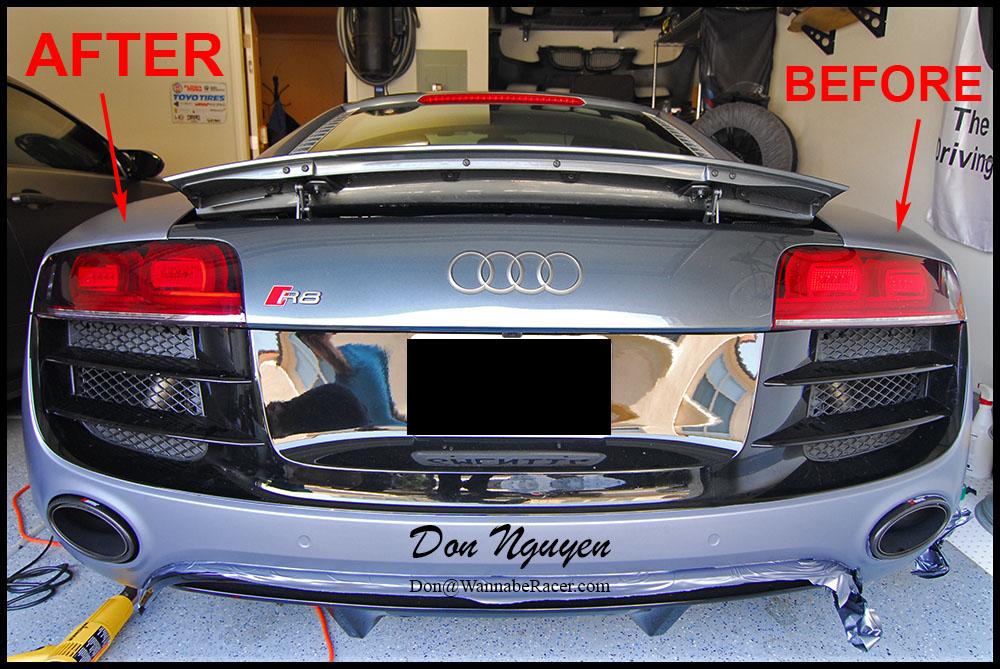 Audi R8 V10 - Tinted / Smoked Tail Lights Vinyl Car Wrap