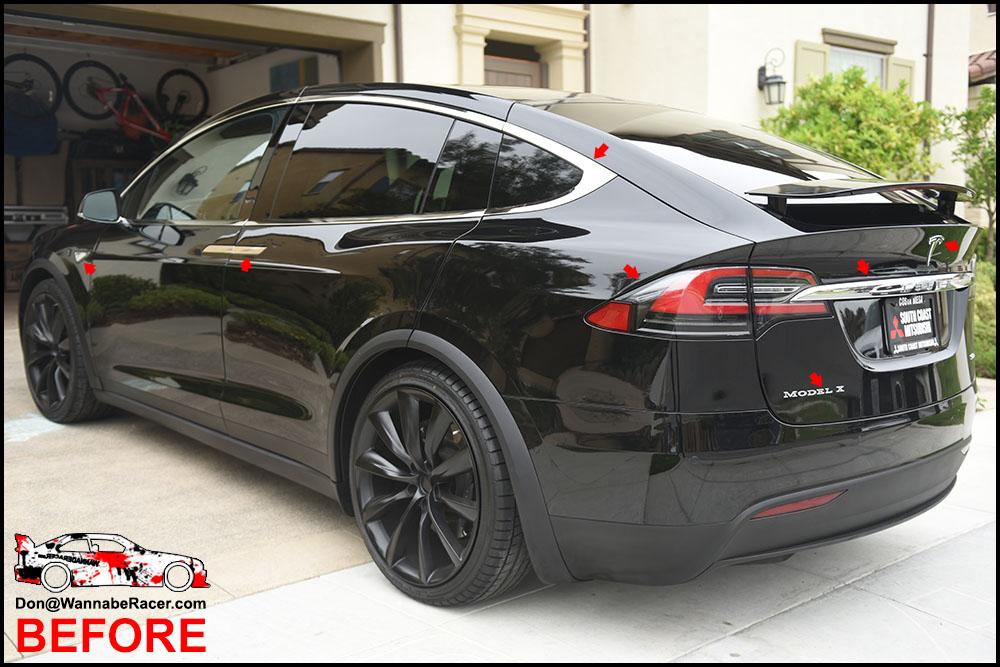 Tesla Model X Suv Gloss Black Complete Chrome Delete Package Vinyl Car Wrap Wannaberacer Wraps
