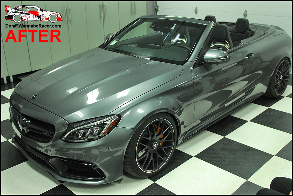 Mercedes C63s Cabriolet - Plasti Dip Glossifier and Gloss Black Complete Chrome Delete Vinyl Wrap