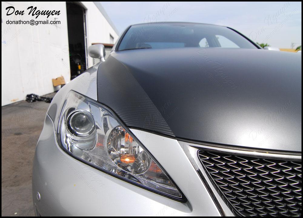 Lexus ISF - Matte Black and Carbon Fiber Hood Vinyl Wrap