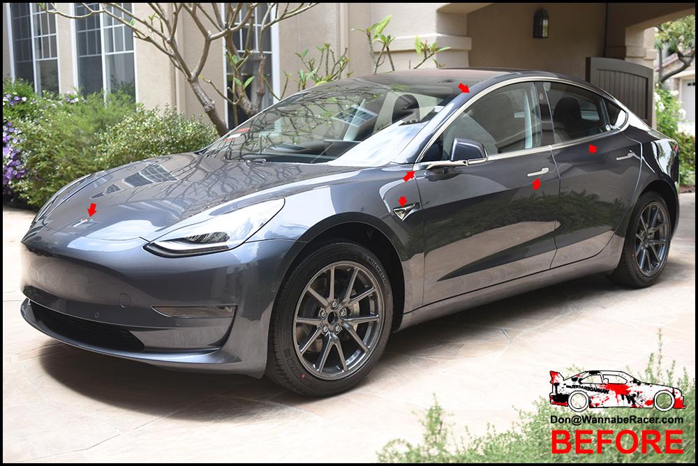 Tesla Model 3 Sedan - Gloss Black Complete Chrome Delete ...