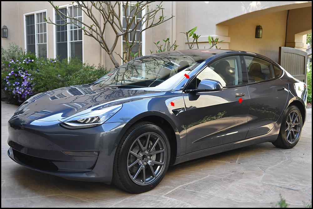 Tesla Model 3 Sedan - Gloss Black Complete Chrome Delete Package Vinyl Car Wrap
