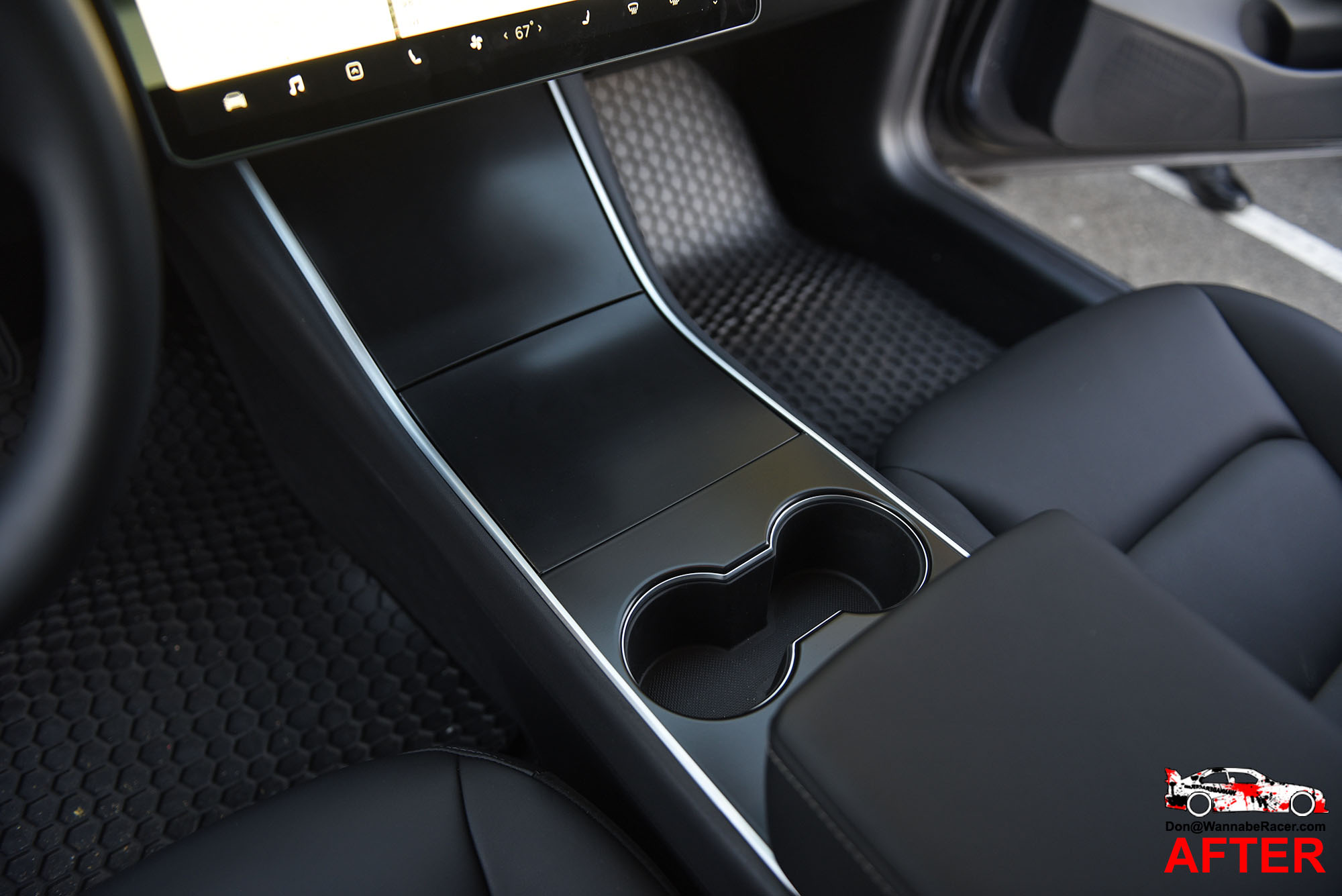 Tesla Model 3 Sedan - Matte Satin Black Interior Trim Vinyl Car Wrap