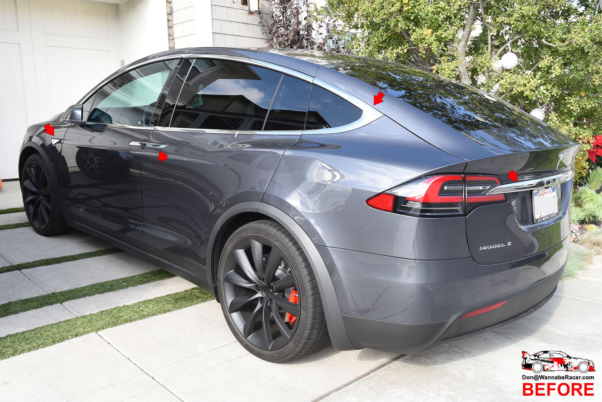 Tesla Model X Suv Gloss Black Complete Chrome Delete Package Vinyl