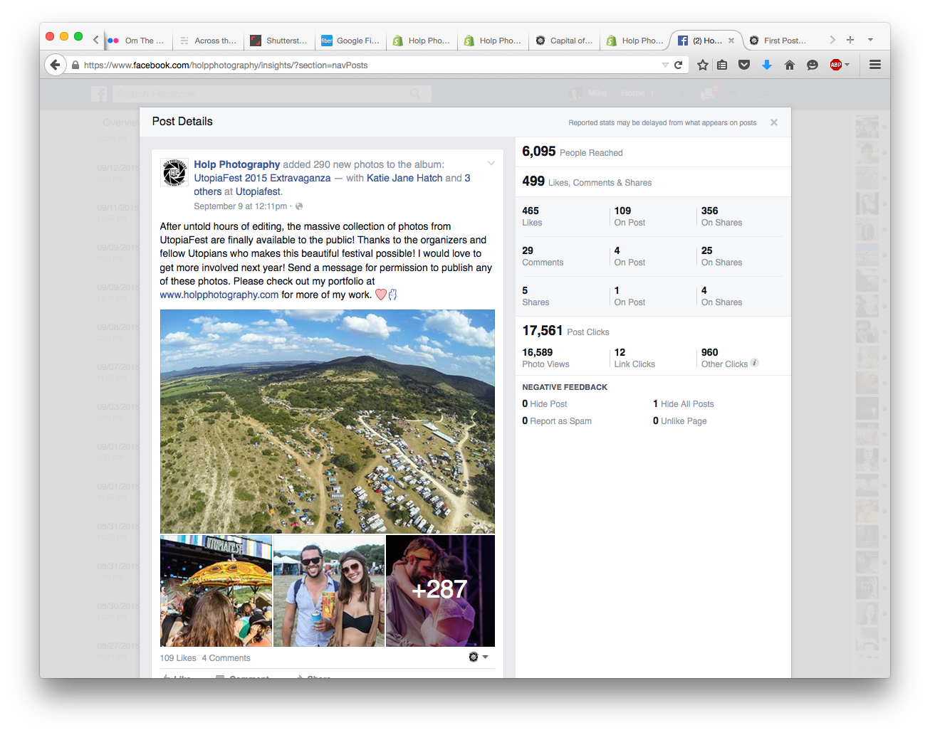 This photo album is a perfect example to illustrate my point. Through tagging friends in nearly 300 photos, the organic reach was over 17K post clicks! As a direct result, local media publications published my photos in various articles on UtopiaFest.