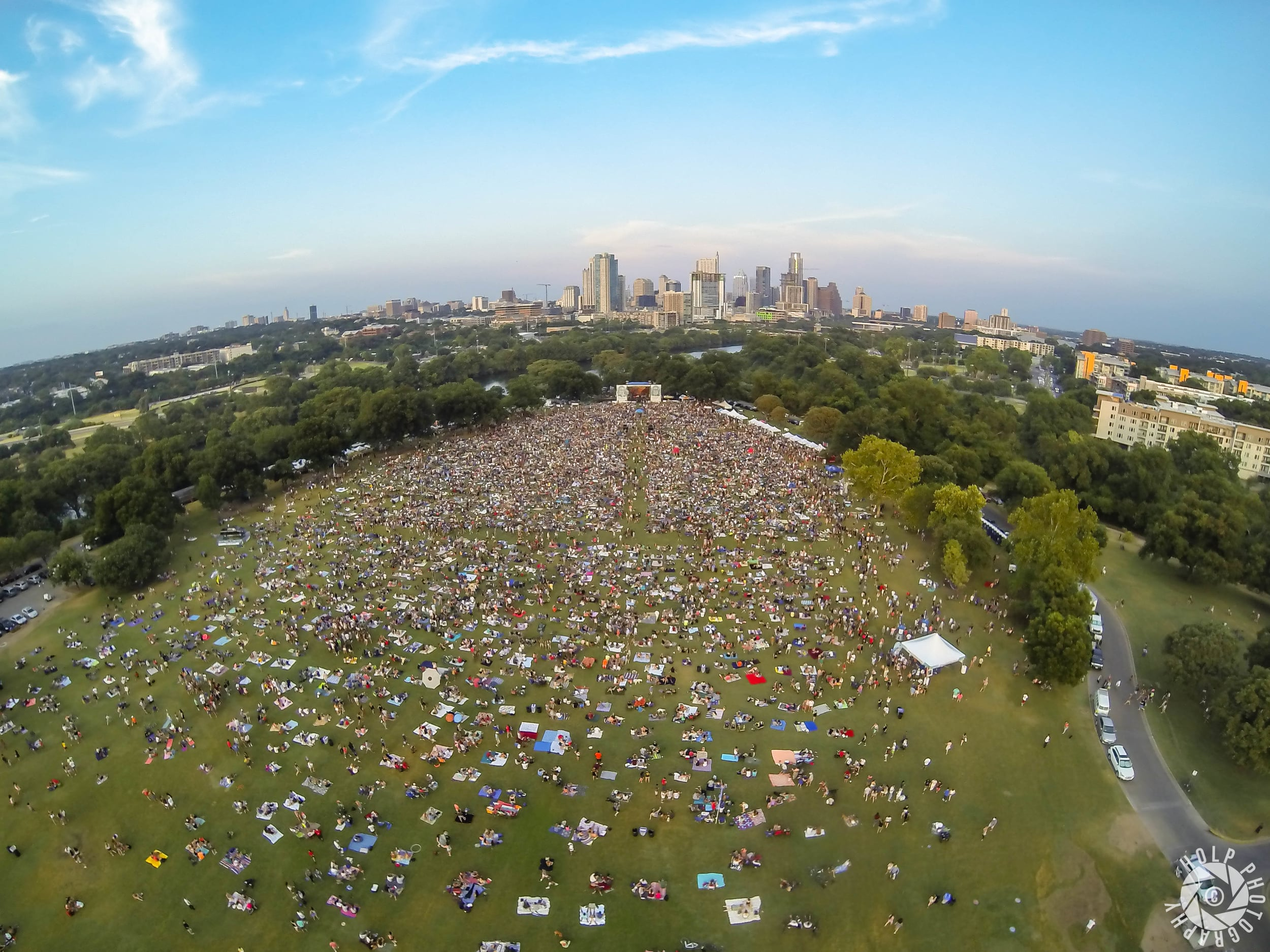 This photo was taken from a drone during Blues on the Green.