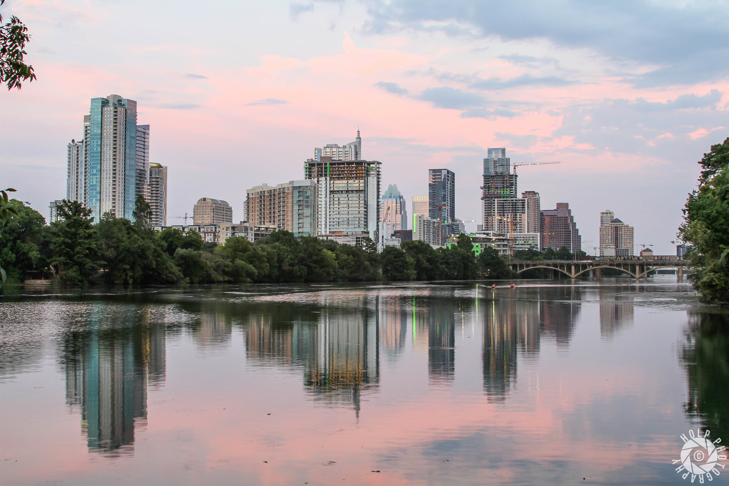 Arguably the most scenic view of the city over Lady Bird Lake.