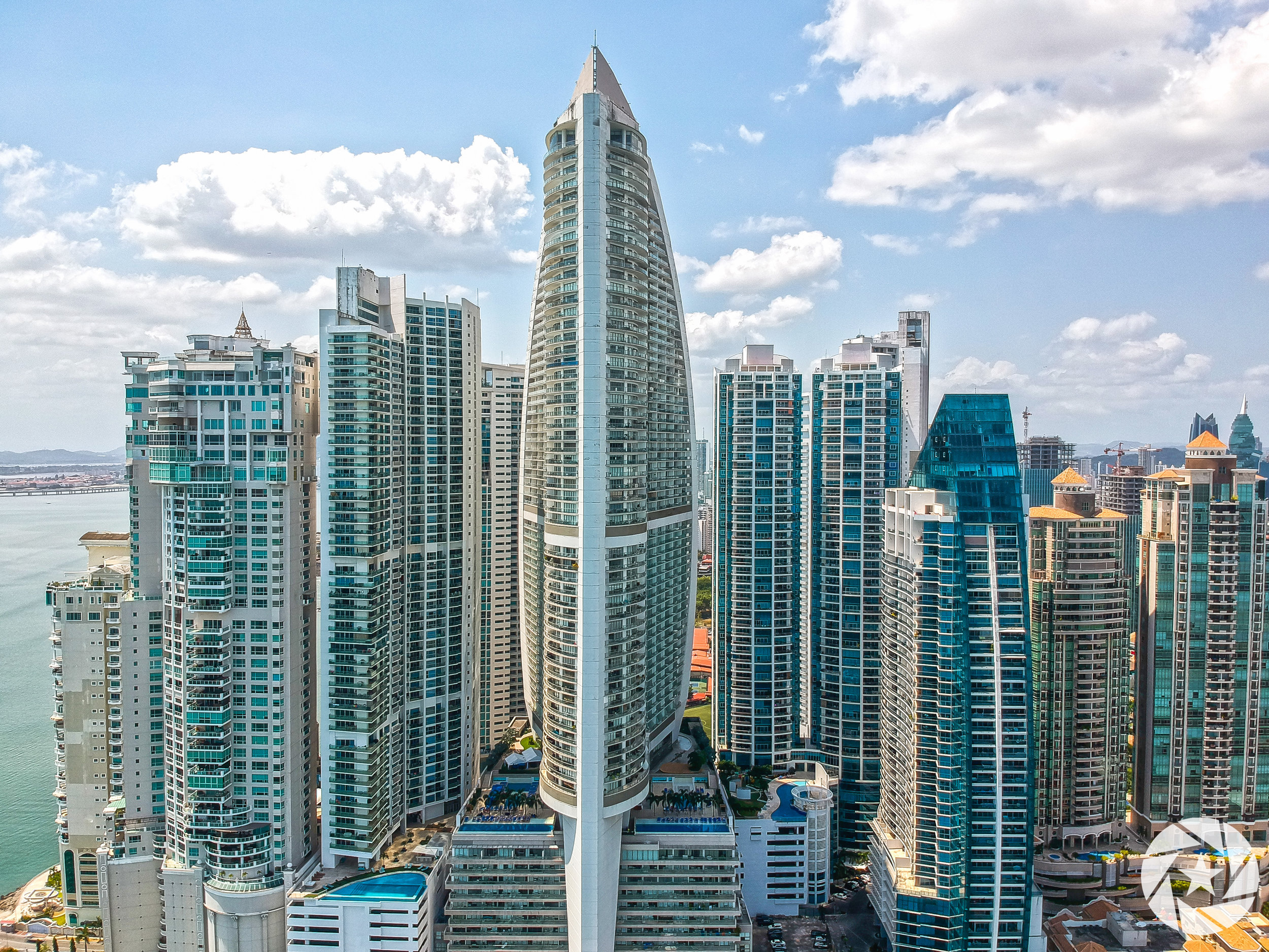Aerial photo of Trump International Hotel in Panama City.