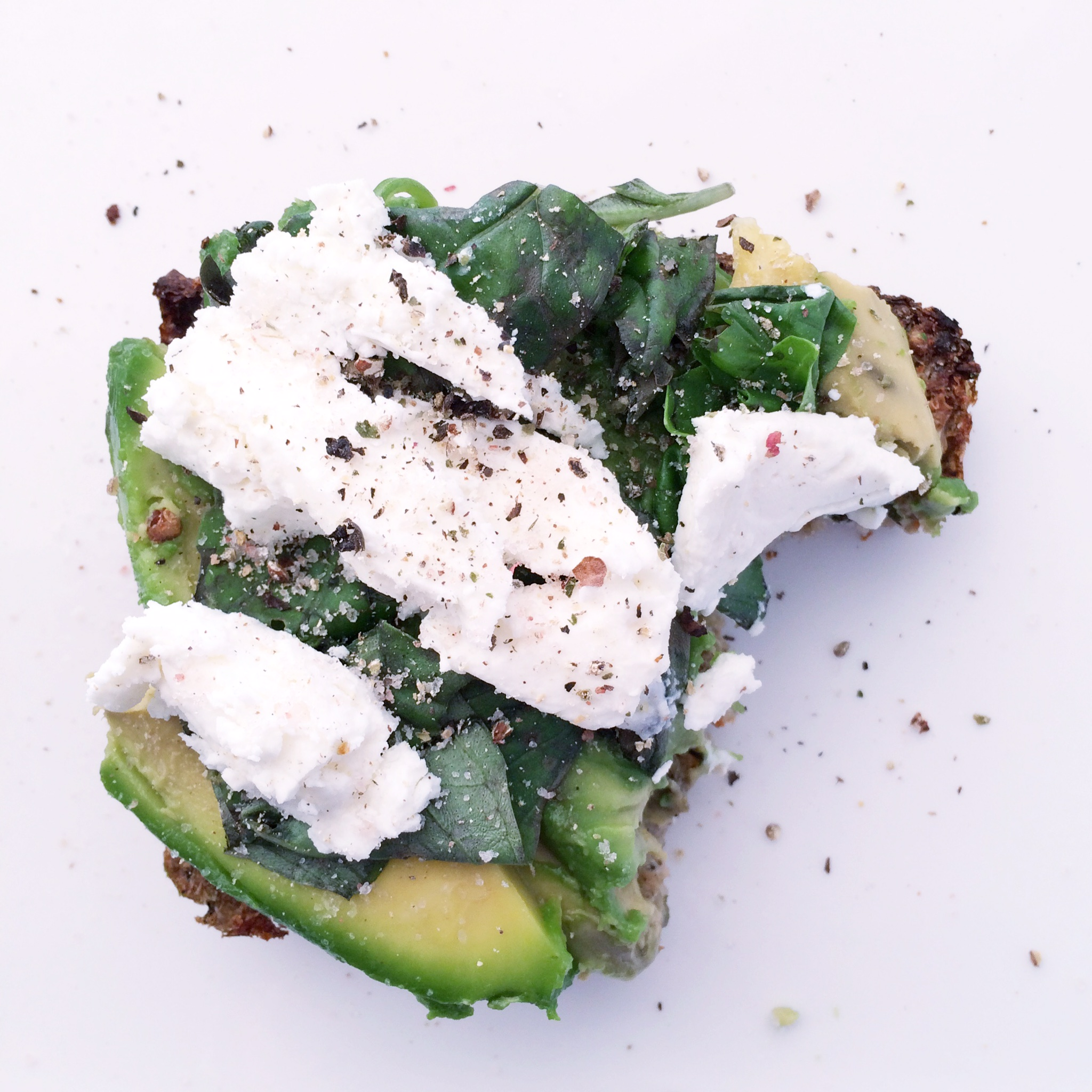 Fresh basil leaves, soft chèvre goat's cheese, pink Himalayan salt and crushed black pepper.