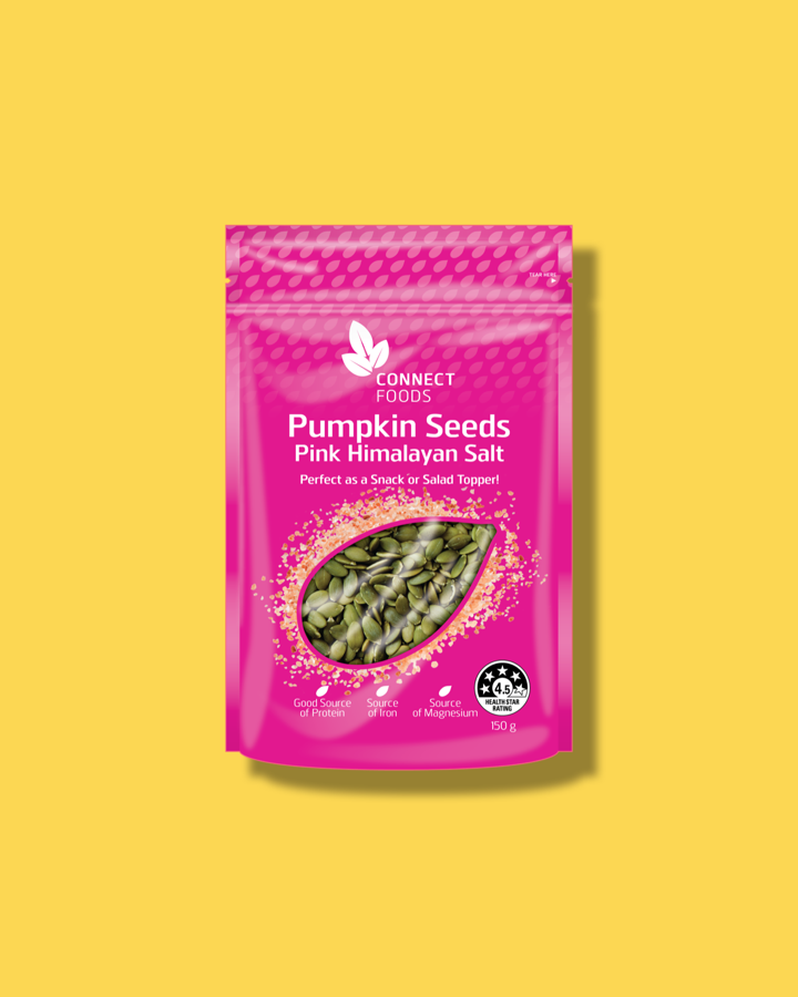 Pink Himalayan Salt Pumpkin Seeds - Connect Foods Pumpkin Seeds are the ideal nutritious snack. They are a good source of protein and also contain iron, magnesium, and zinc. They are roasted to perfection with just the right amount of Pink Himalayan Salt to tickle your tastebuds and keep you coming back for another delicious handful. Enjoy them straight out of the pack or as a topper on your salad or soup.Available at Woolworths nationwideOrder with Woolies online ➝