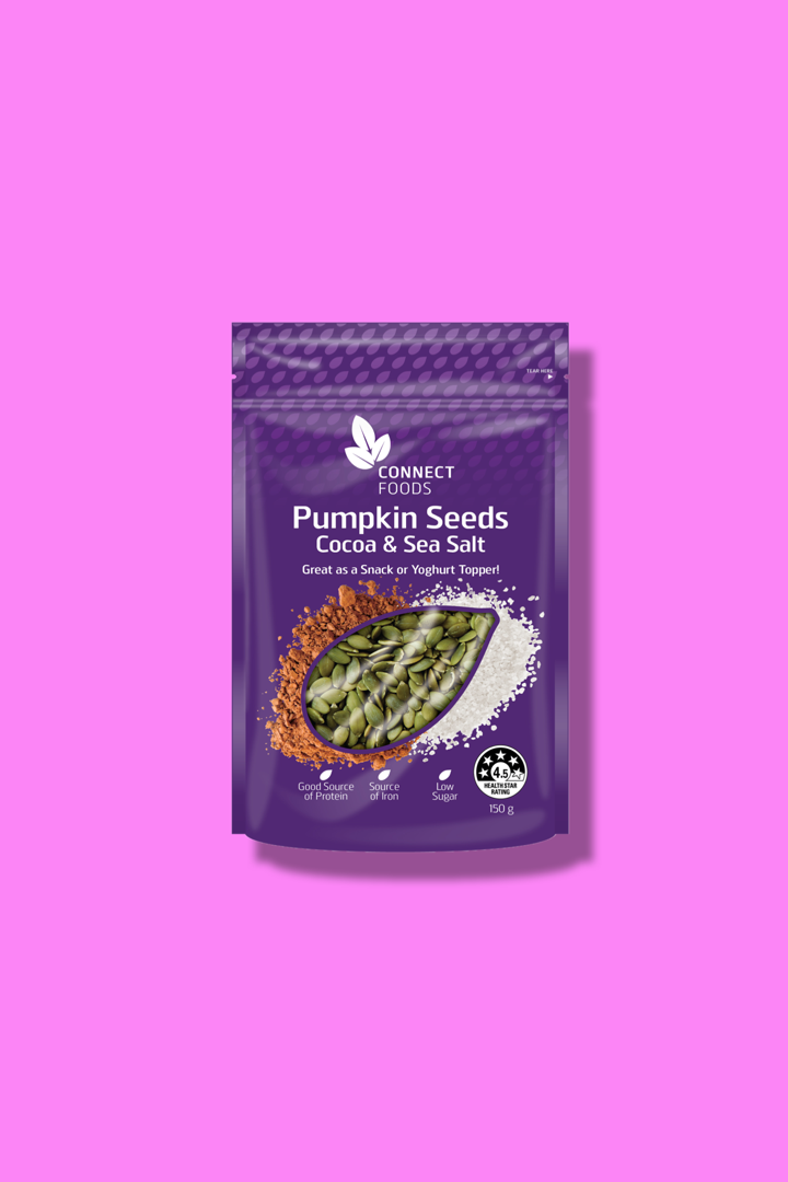 Cocoa & Sea Salt Pumpkin Seeds - These cocoa & sea salt pumpkin seeds are the perfect snack for when you're looking for a bit of a chocolate fix with a healthier twist! They satiate that sweet craving with a satisfying crunch that keeps you going back for the next handful. Enjoy on your smoothie bowls as a topping, or mixed with your favourite muesli, oats, or yoghurt.(UPDATE: Aug 20, 2019 - Some of you have noticed that our popular Connect Foods Pumpkin Seeds are either unavailable or on clearance at Woolies. Don't worry, the product is not disappearing. We are just moving to a new pack-size in early September and adding some new exciting lines too. Keep an eye out in the health food section!)Available at Woolworths nationwideOrder with Woolies online ➝