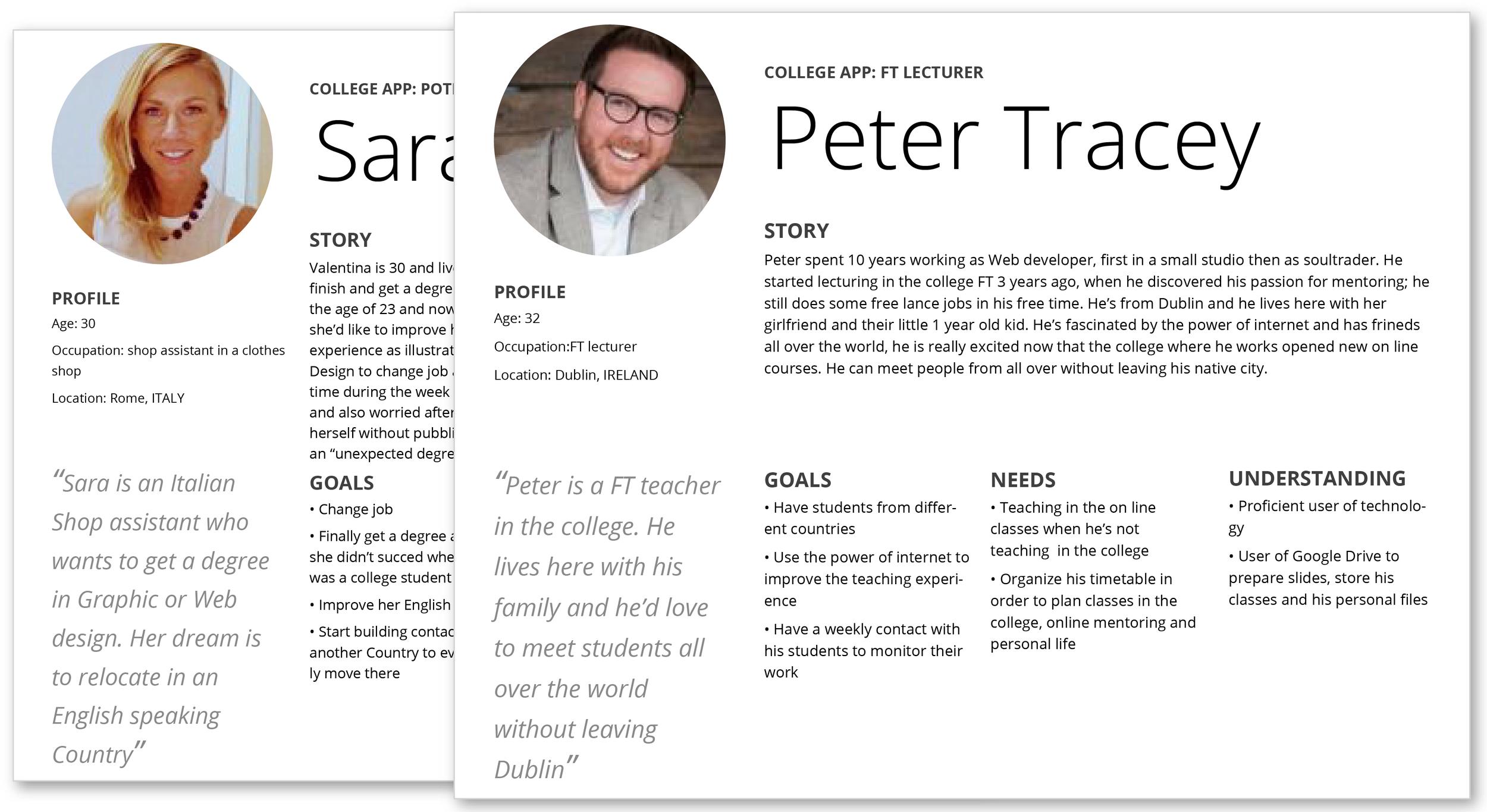 Personas and scenarios  (Adobe Illustrator)