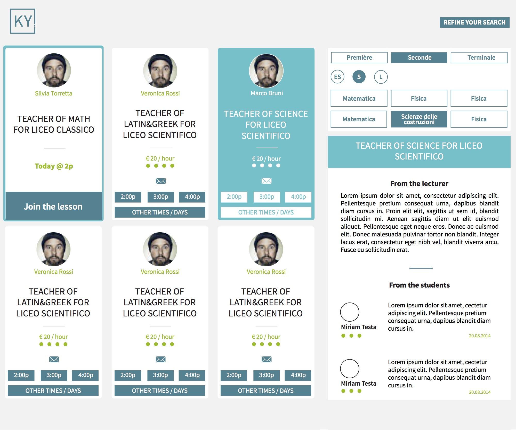 Proposals  for 'My classes' page. Initial redesign of the  UX of the 'Refine your search' feature  (on the right of the page)