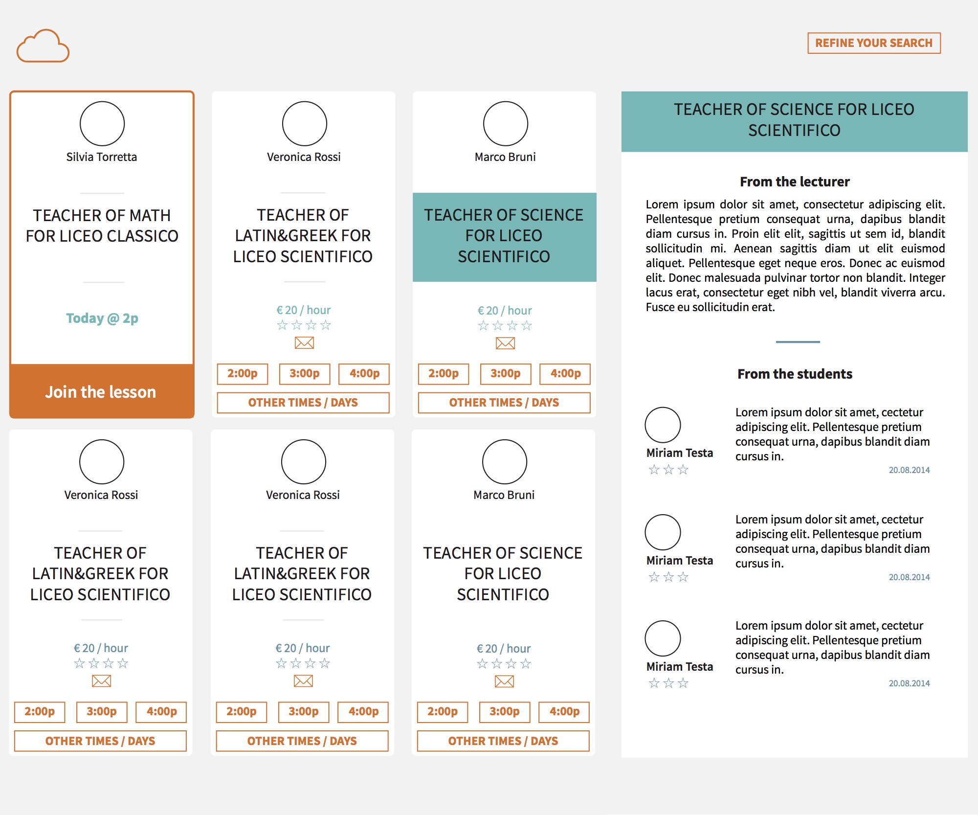 Proposals  for 'My classes' page, different color palette and organization of the elements