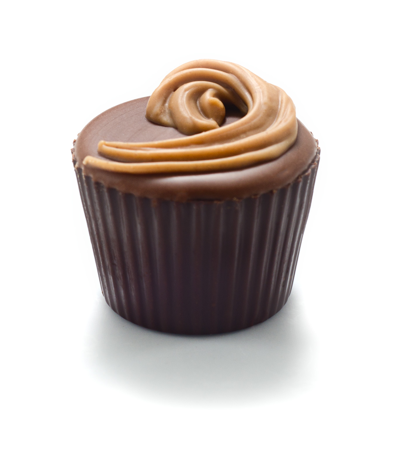 <b>VIVIAN</b><P ALIGN=Left>Dark chocolate bucket with Butterscotch center finished with milk chocolate and a praline swirl</P>