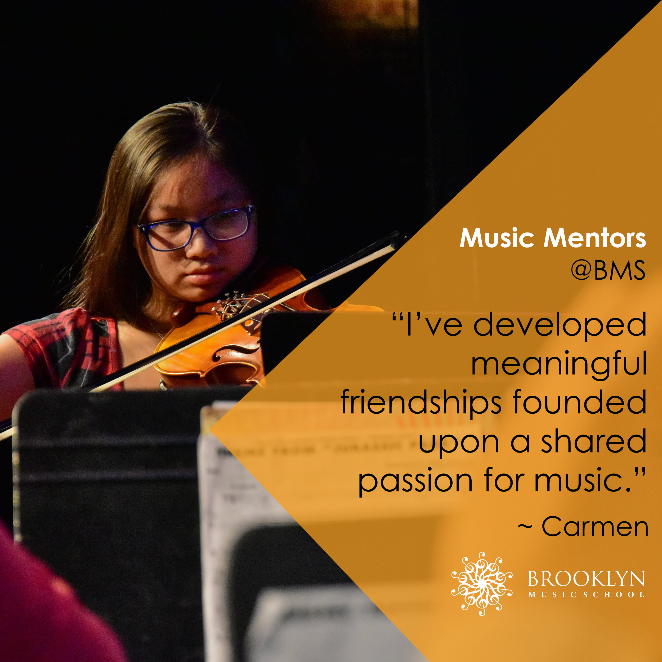 CARMEN (Violin & Piano) - I am exposed to a variety of opportunities relating to music education and musical performance. I am able to explore both the teaching and learning sales of music education. As a mentor, I've been able to observe and help out with teaching classes. One thing that really stood out to me was the way classes were taught. Since my school doesn't offer music theory classes, this school allows me to deepen my understanding of the technicalities of music. Before theory class, I didn't have much knowledge on the difficult types of chords and how they relate to each other. In addition, I've gotten various performance opportunities. For example, I've been able to perform with the youth and adult orchestras, as well as play solo in the recital. Before studying at BMS, I did not had many performance opportunities, so I immensely grateful for those that BMS provides me. I've also been able to develop some meaningful friendships. I've never been able to make many friends with the same passion for music, and part of this community pushes me to develop my musical abilities and understanding.