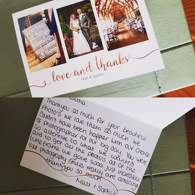 Always lovely to receive thank you cards with great feedback. #lovemyjob #thankyou #themillbarns #weddingphotography