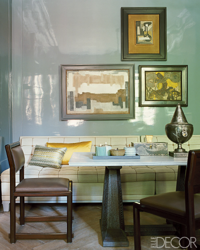 Lacquered walls in Elle Decor
