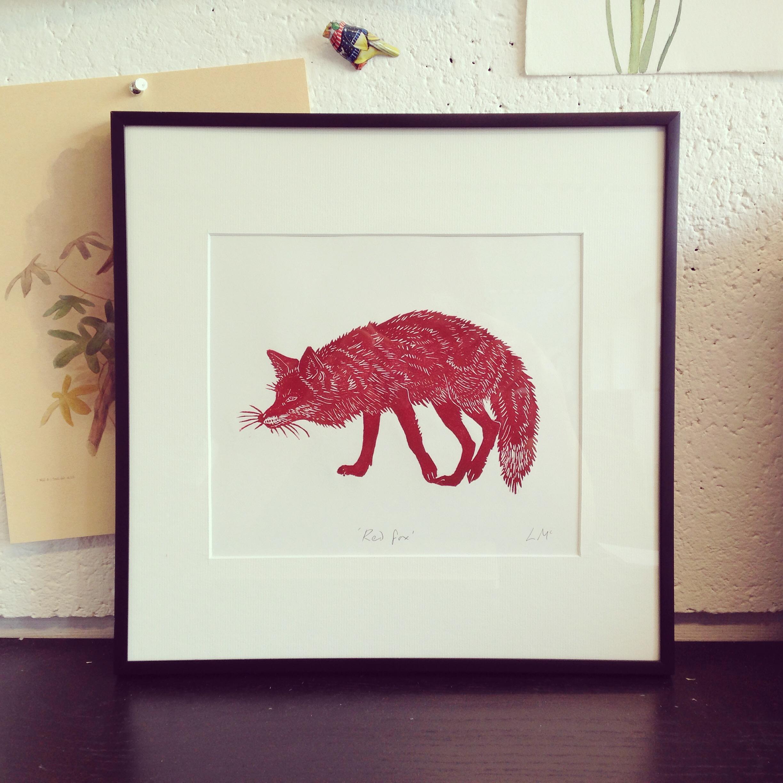 'Red Fox' original lino print