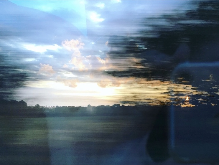 Train blur blue by Lindsay McDonagh