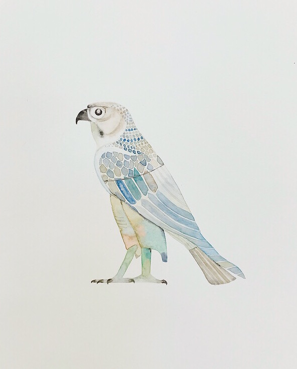Egyptian falcon watercolour by Lindsay McDonagh