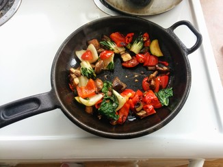 Saute your chopped veggies in a little oil