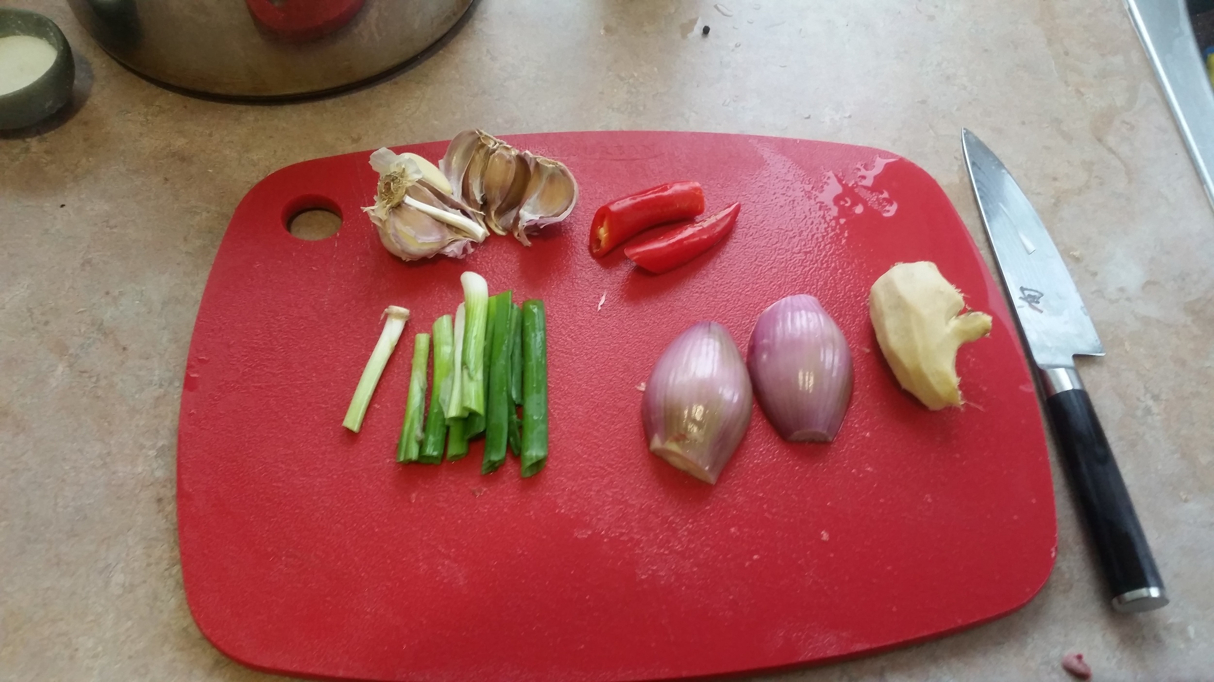 Prep your aromatics: peel and slice the shallot, discard the roots of the green onion, peel the ginger, smash the garlic.