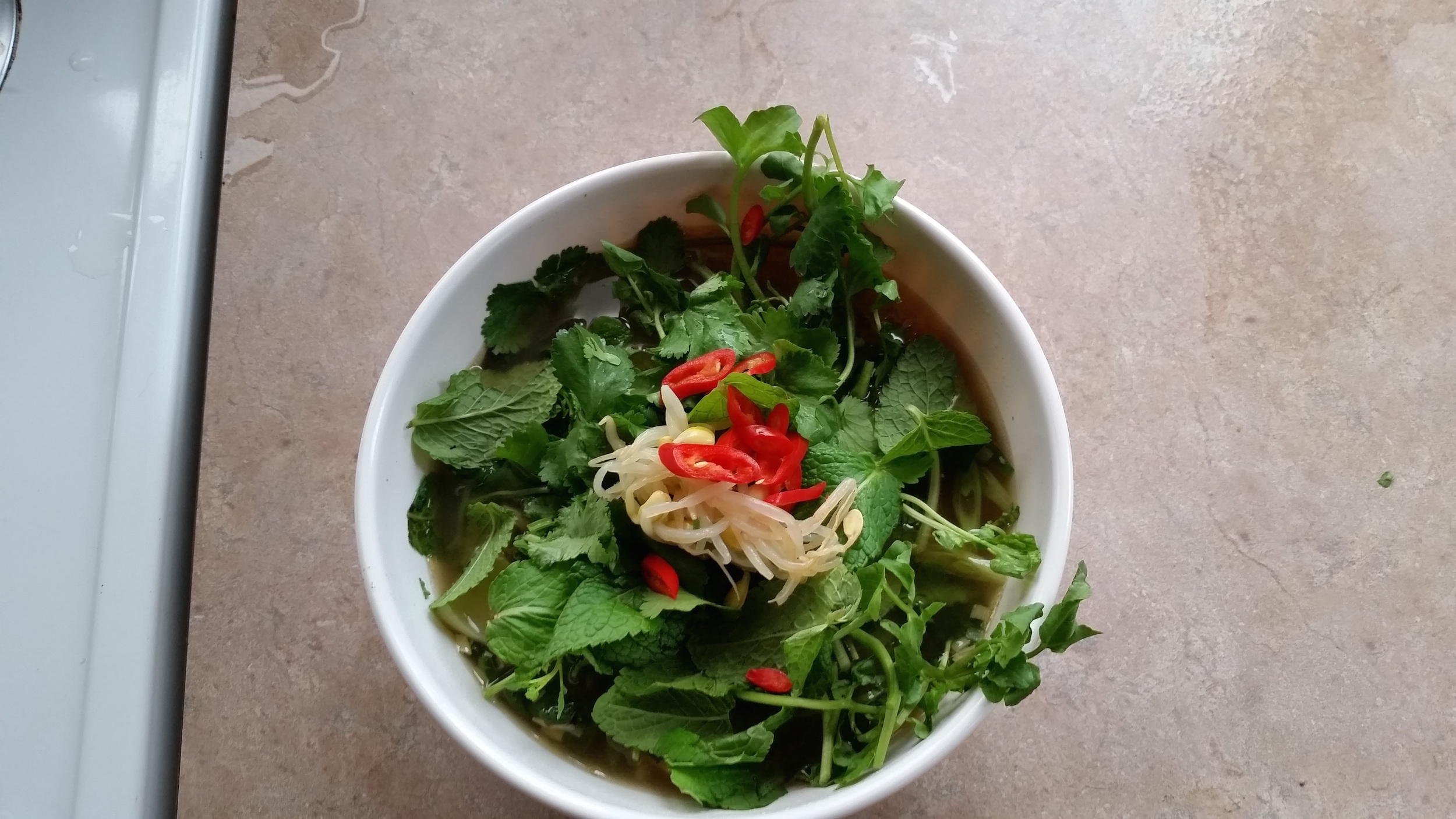 Serve with: chilis, fresh herbs, bean sprouts etc!  Enjoy!