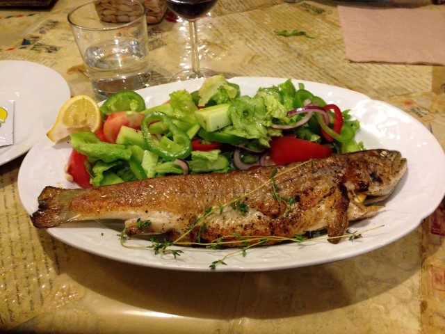This trout with salad was at the going-away dinner of one of the other Fulbrighters, Blake, at his favorite restaurant, Made In Home, also near my apartment. Mmm.
