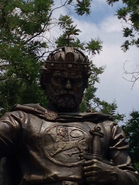 And speaking of awkward, this new statue of Tsar Samuil has been the center of a big kerfuffle, because the artist gave him glow-in-the-dark eyes. There are those—many—who find this cheesy.