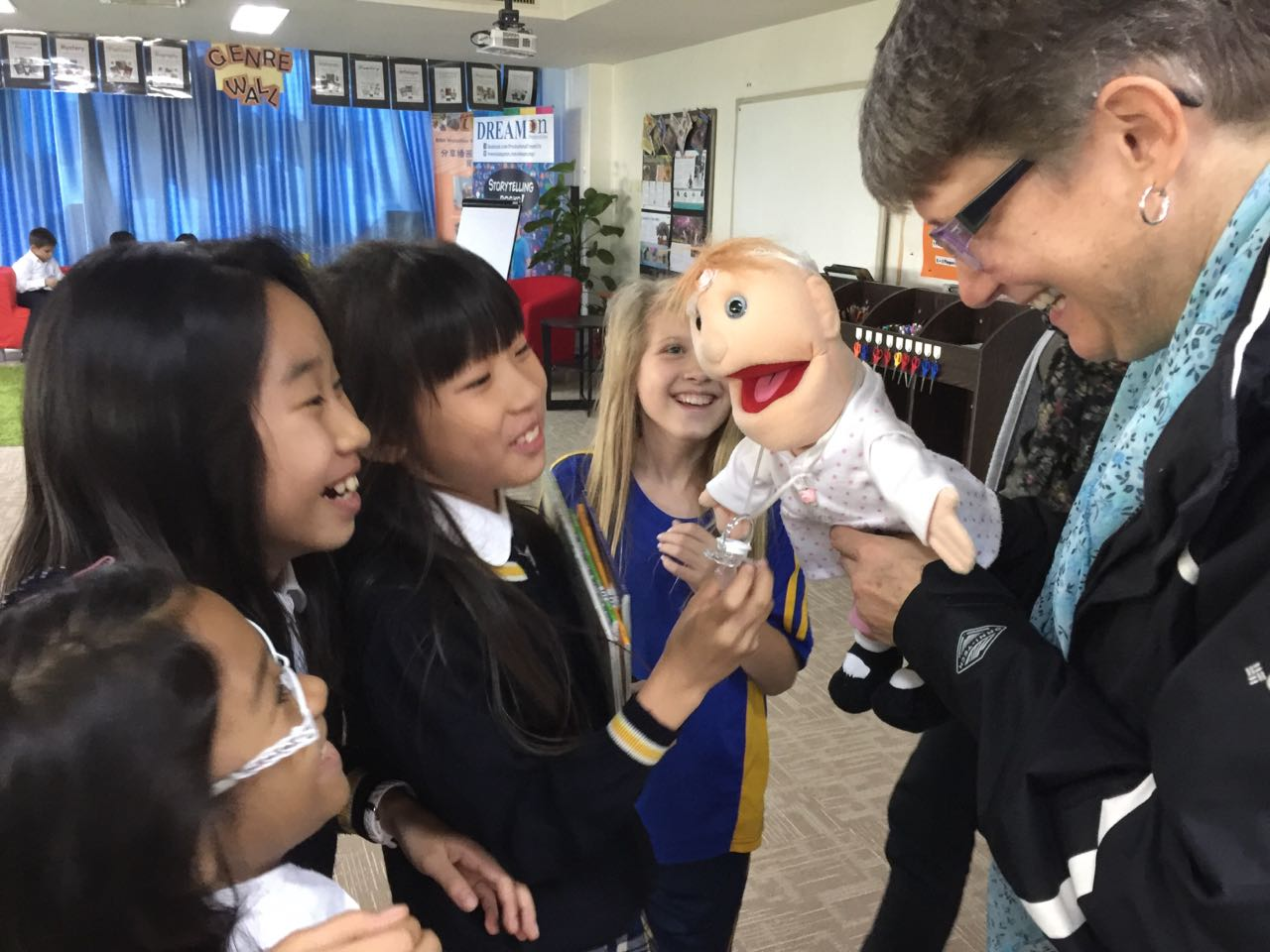 Even the big kids love the baby puppet.