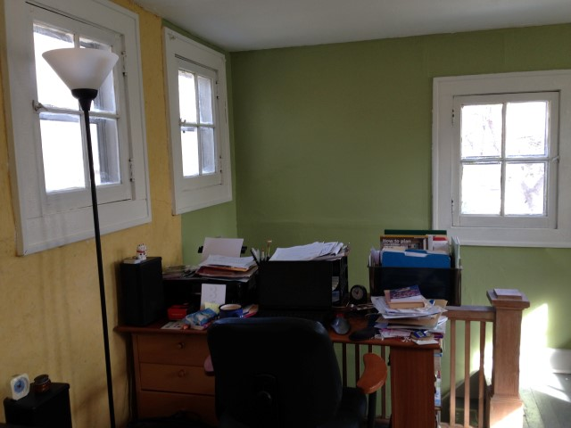 The freshly plastered yellow wall, freshly painted trim and green wall of my office, thanks to Kate, Tim, Samrat, Mary, Andy, Marie, Paul and Janelle.