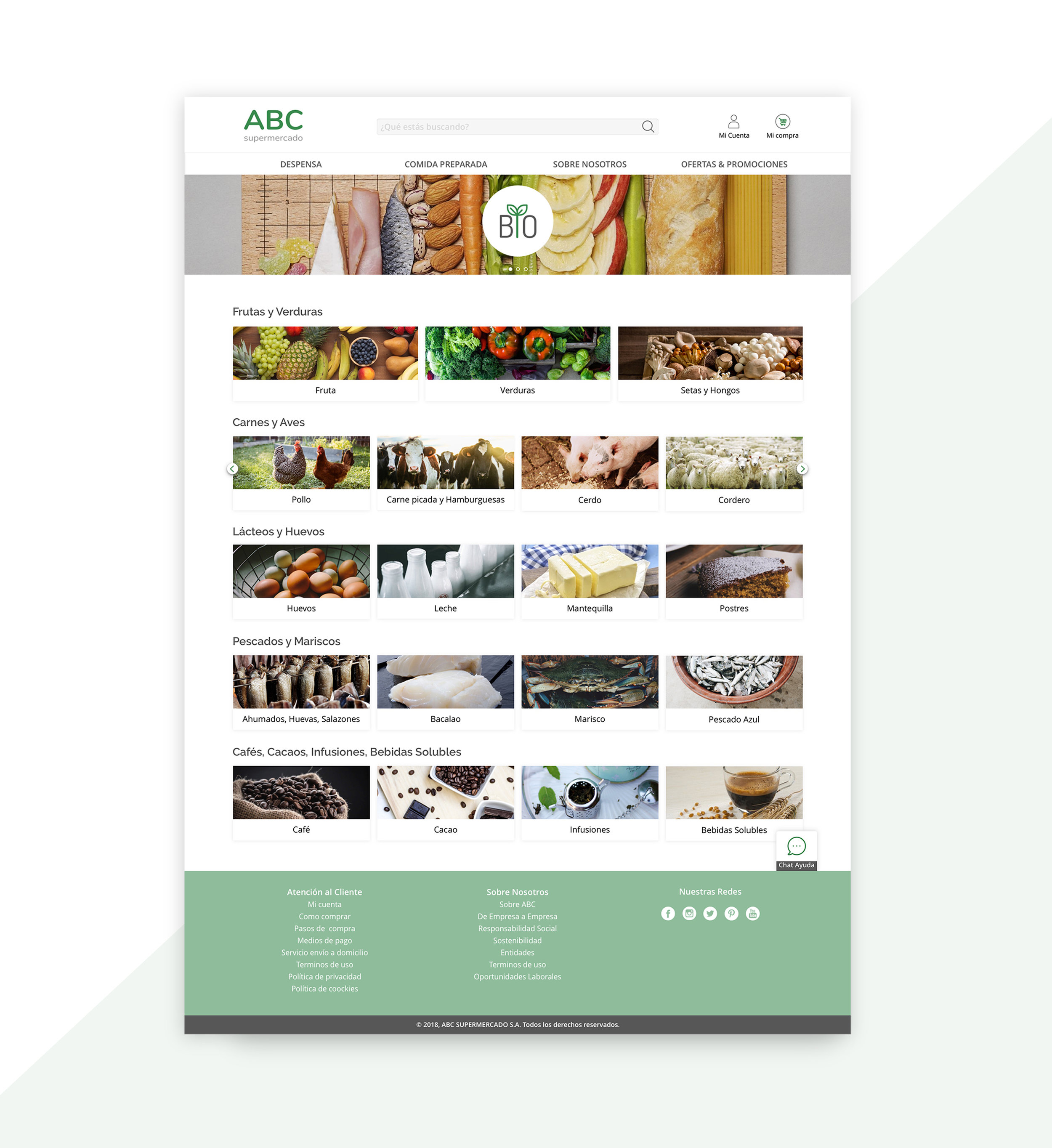 ABC Supermarket - Proyecto realizado para el lanzamiento online de un supermercado regional, con productos de alta calidad, y que además posee varios restaurantes con lo que desea incluir un servicio de comidaa domicilio en su nueva página web.Project for the online launch of a regional supermarket, which sells high quality products,and also has several restaurants so they wantto include a home delivery service on theirnew website.