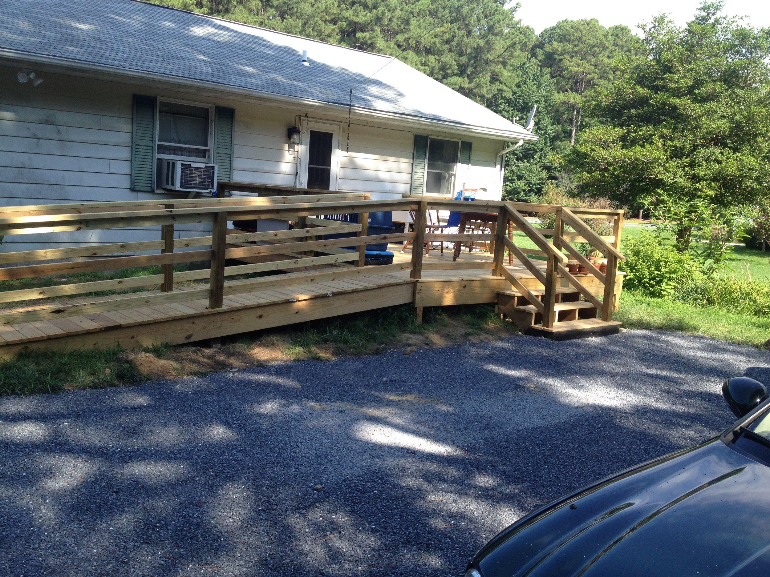 Recently completed deck and ramp.