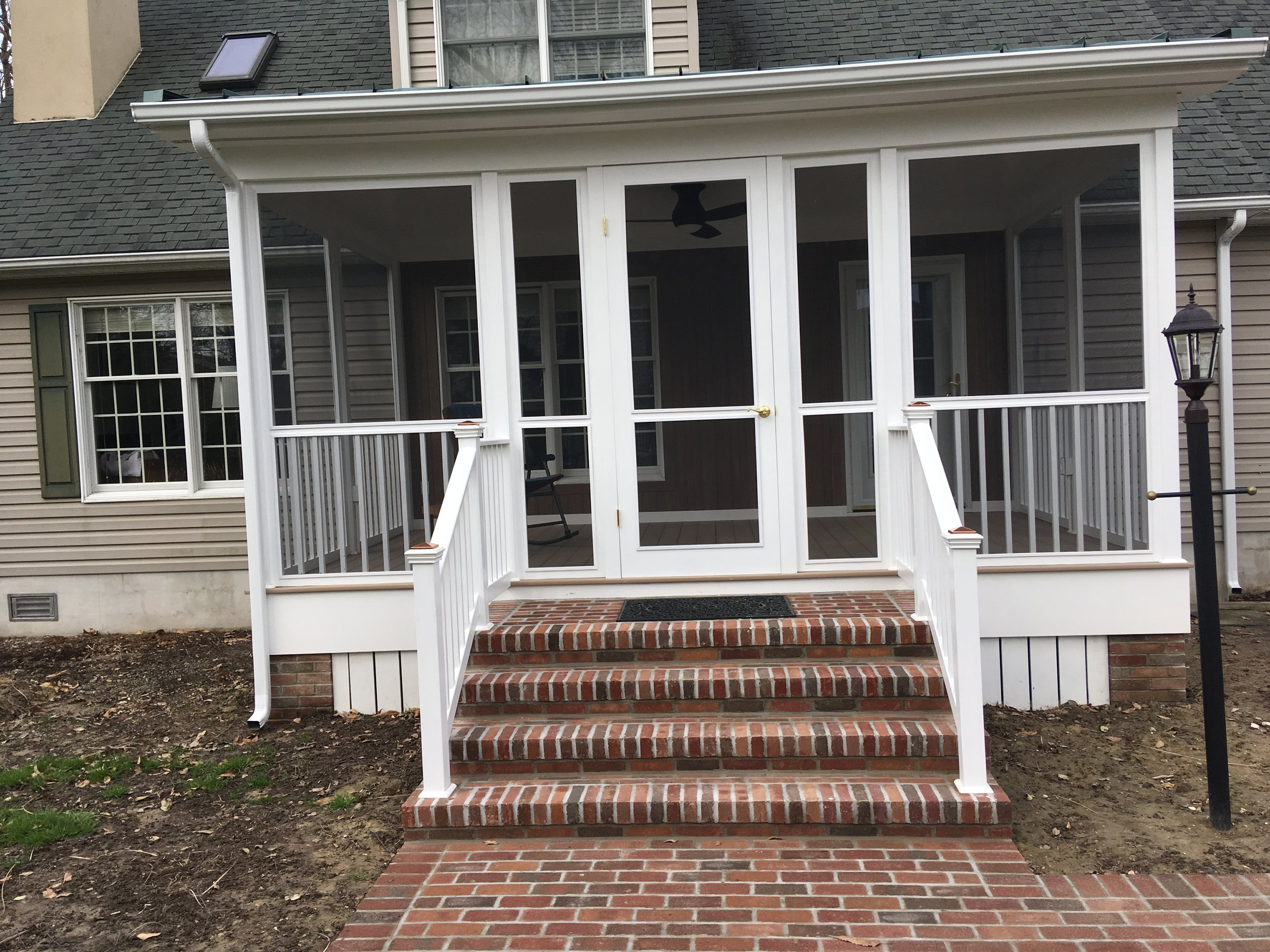 Porch recently finished with all maintenance free material