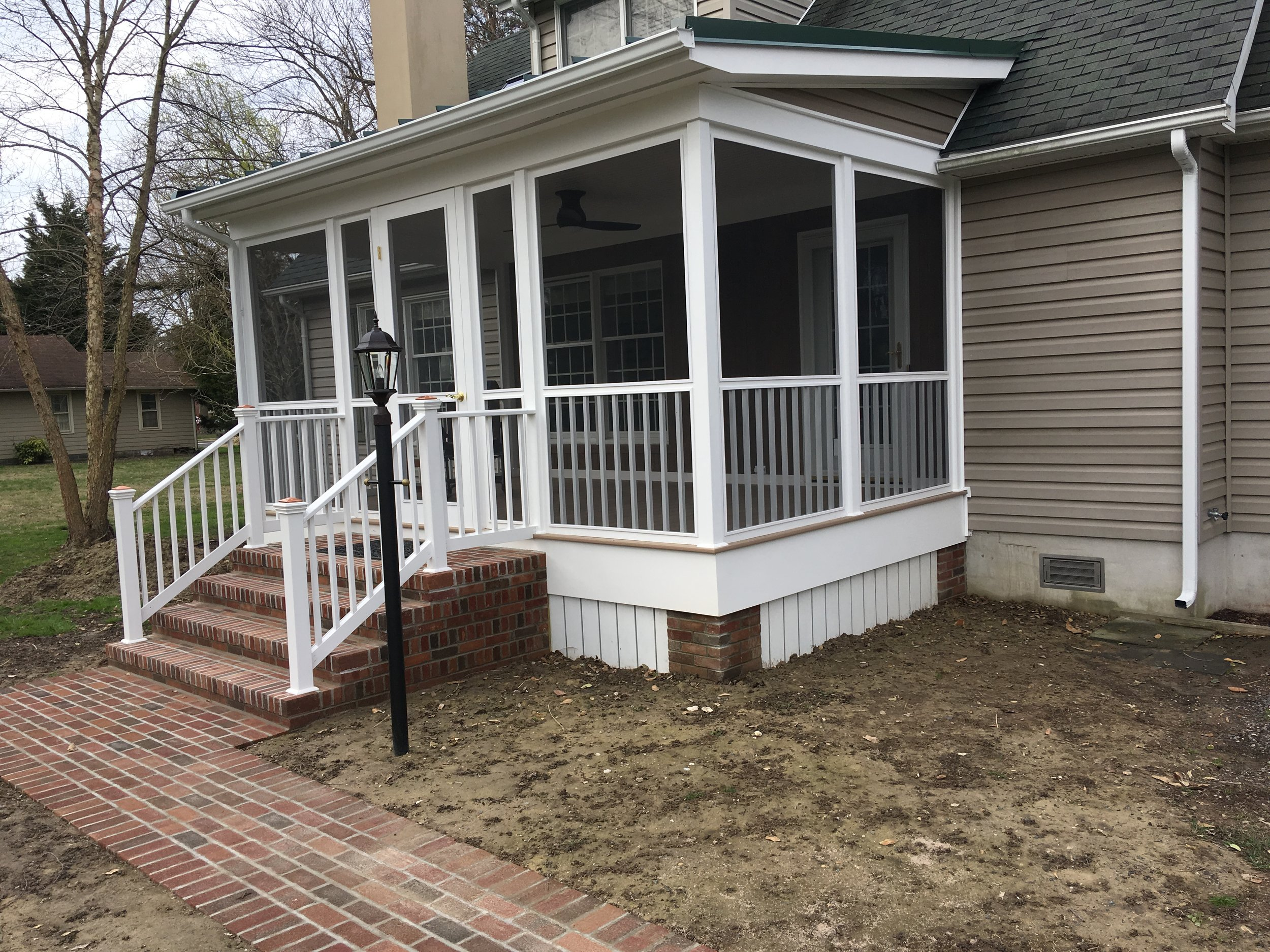 Porch recently finished with all maintenance free material.