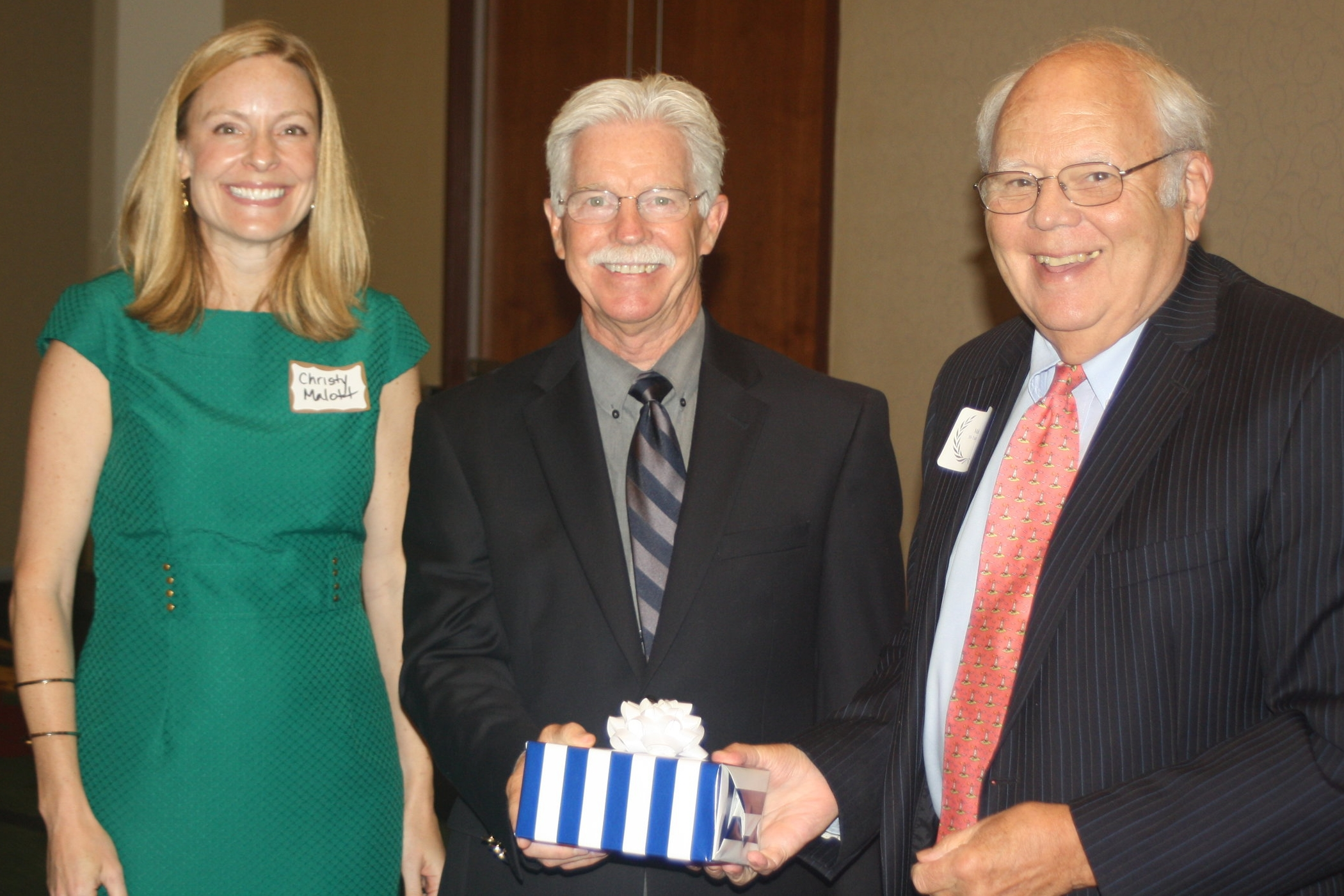 (l-r) Christy Malott (former President of the 14th Judicial Bar Association),  Guy W. Crabtree  (current President) and  Malvern F. King, Jr.   photo courtesy of Bob Friedman, Publisher, NC Triangle Attorney at Law Magazine