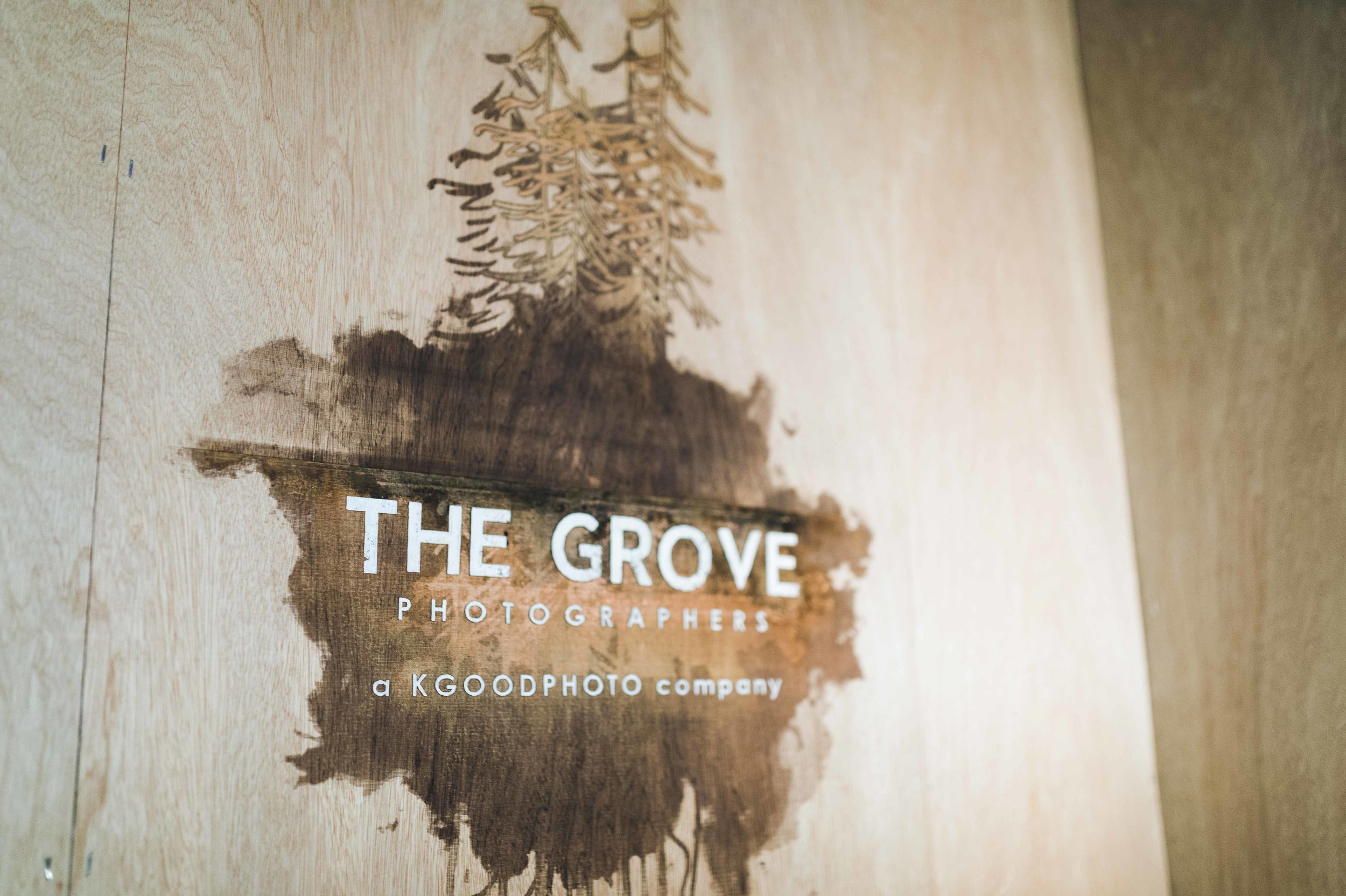 The corner signage for our client's sub-brand, The Grove, was laser cut on to mahogany doorskin and framed using dimensional lumber.