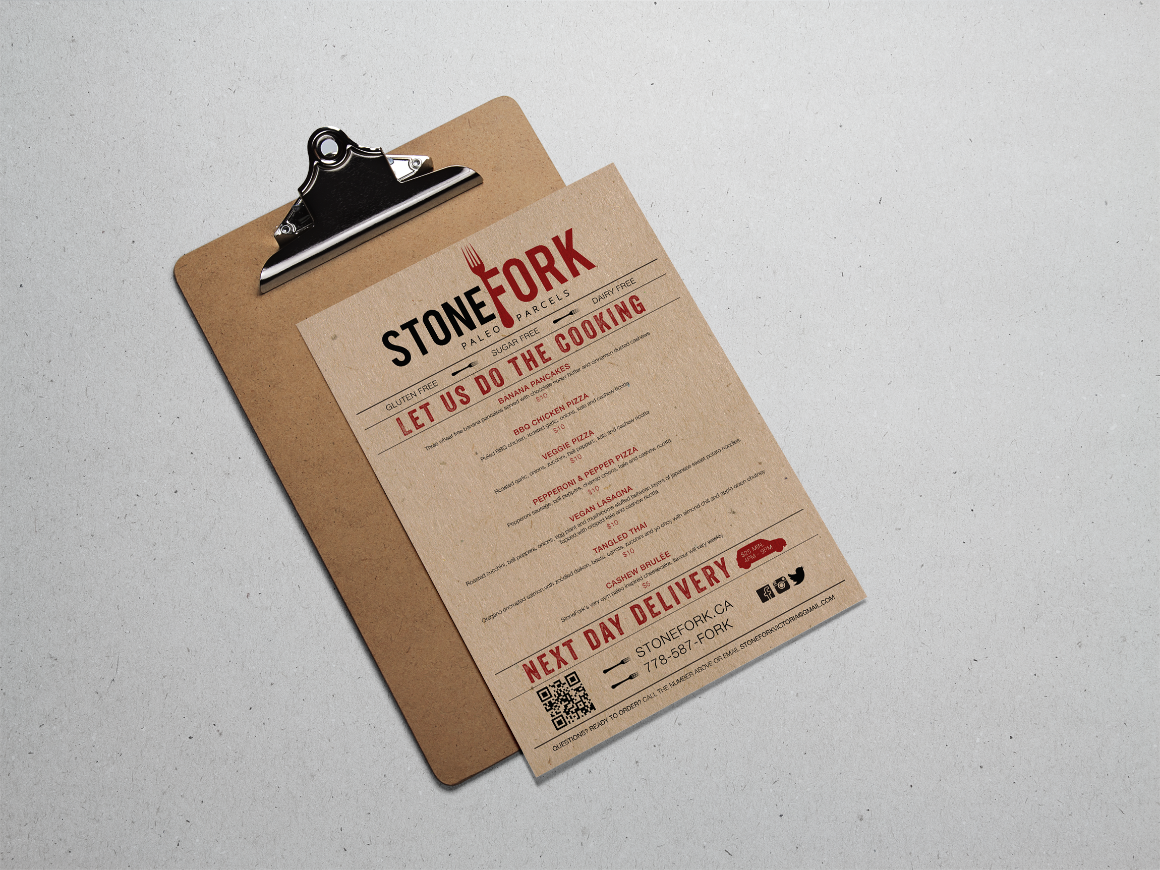 The colour palette is rustic, representing the modern caveman aesthetic with high contrast, high impact red and black, grounded by an earthy kraft paper texture.