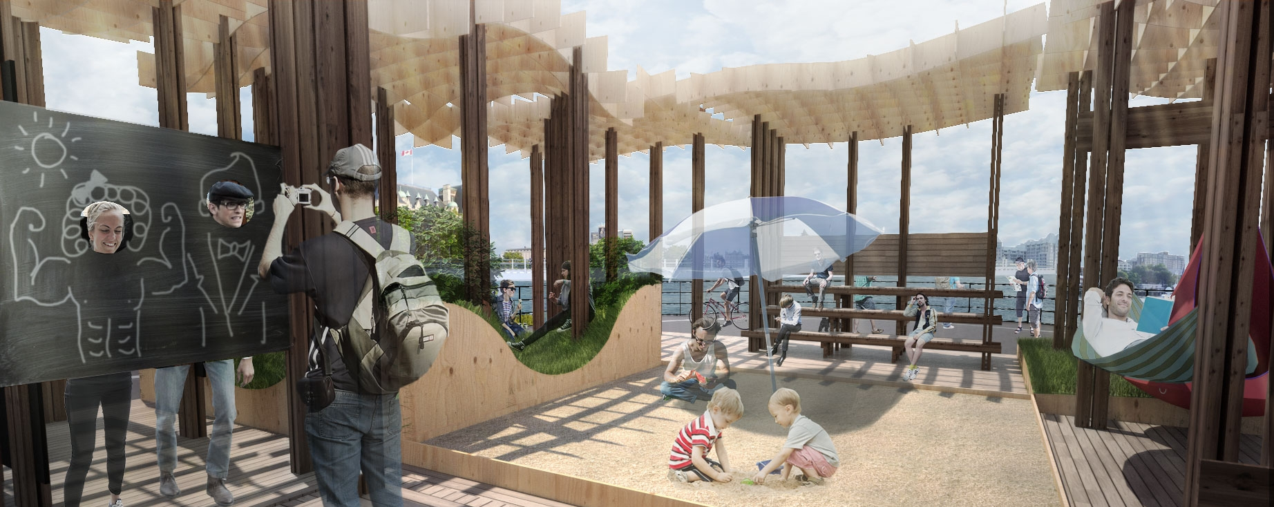 Concept renders for the Ship Point Pop-Up design competition.