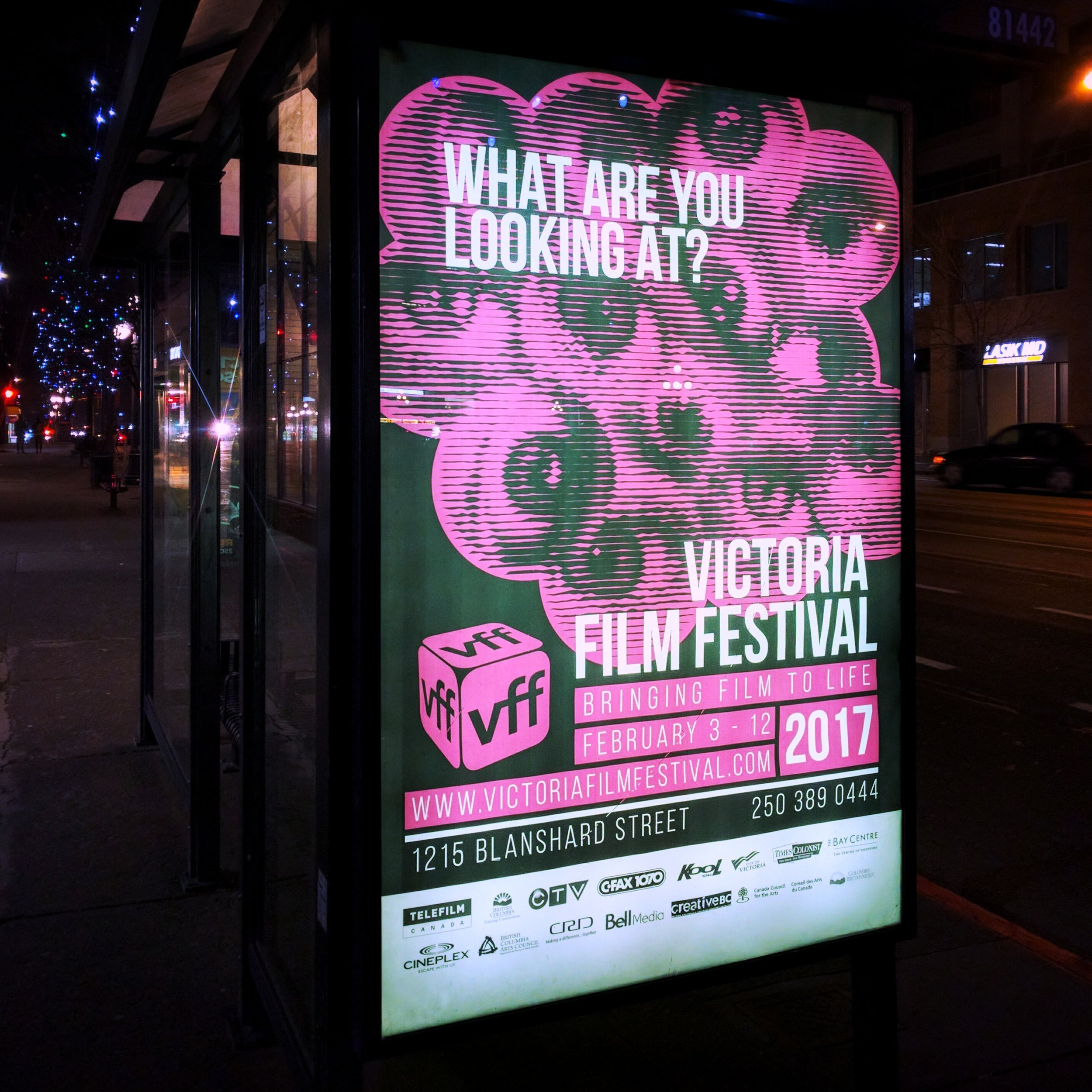 The Victoria Film Festival commissioned us to design the graphic presence of their 2017 event, including this poster design which popped up on a bus shelter next to Victoria City Hall.