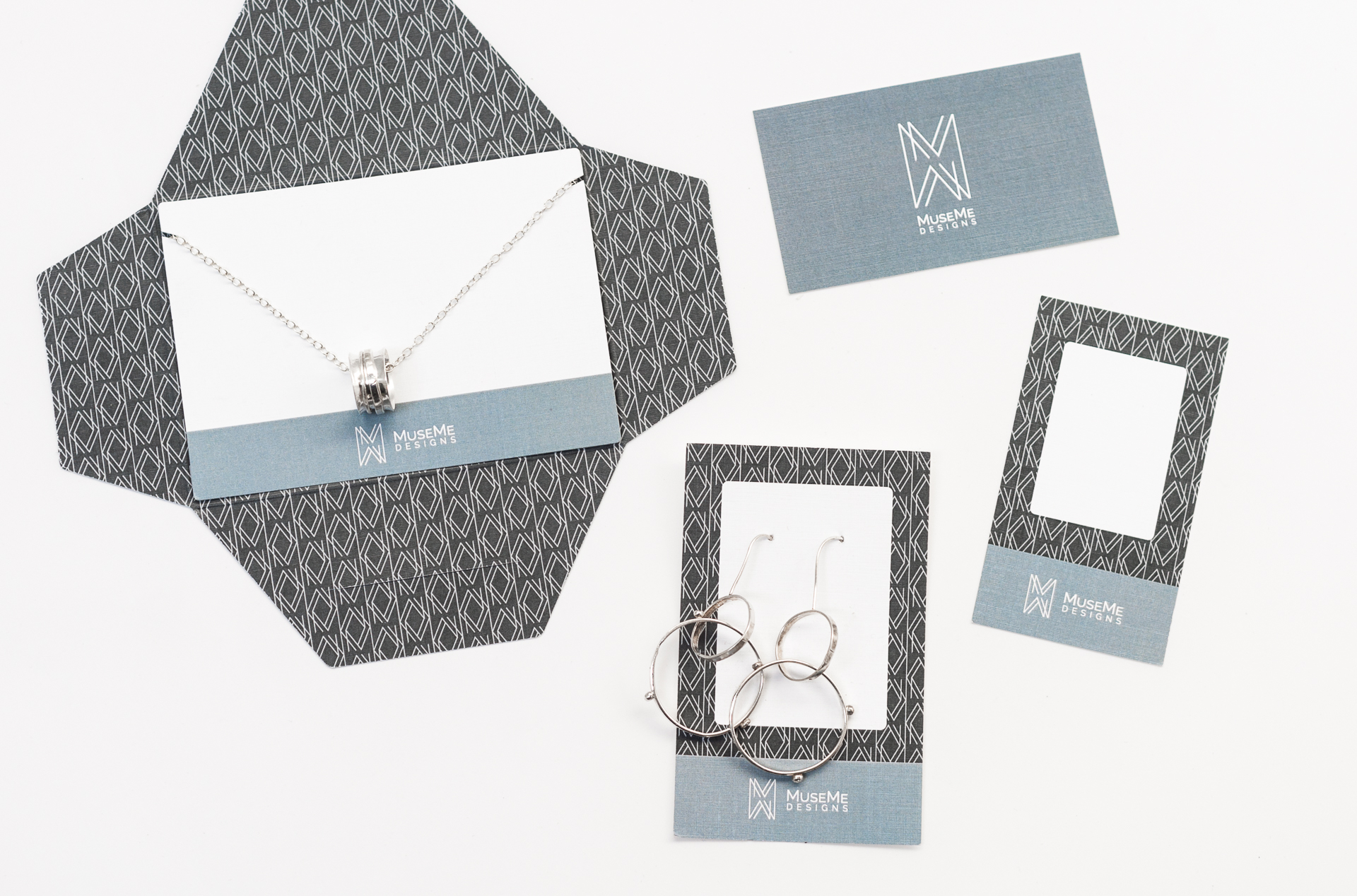 Some elements of MuseMe's new packaging, including the necklace envelope and card, had to be cut using a custom die cut, which we also facilitated and coordinated on behalf of the client.