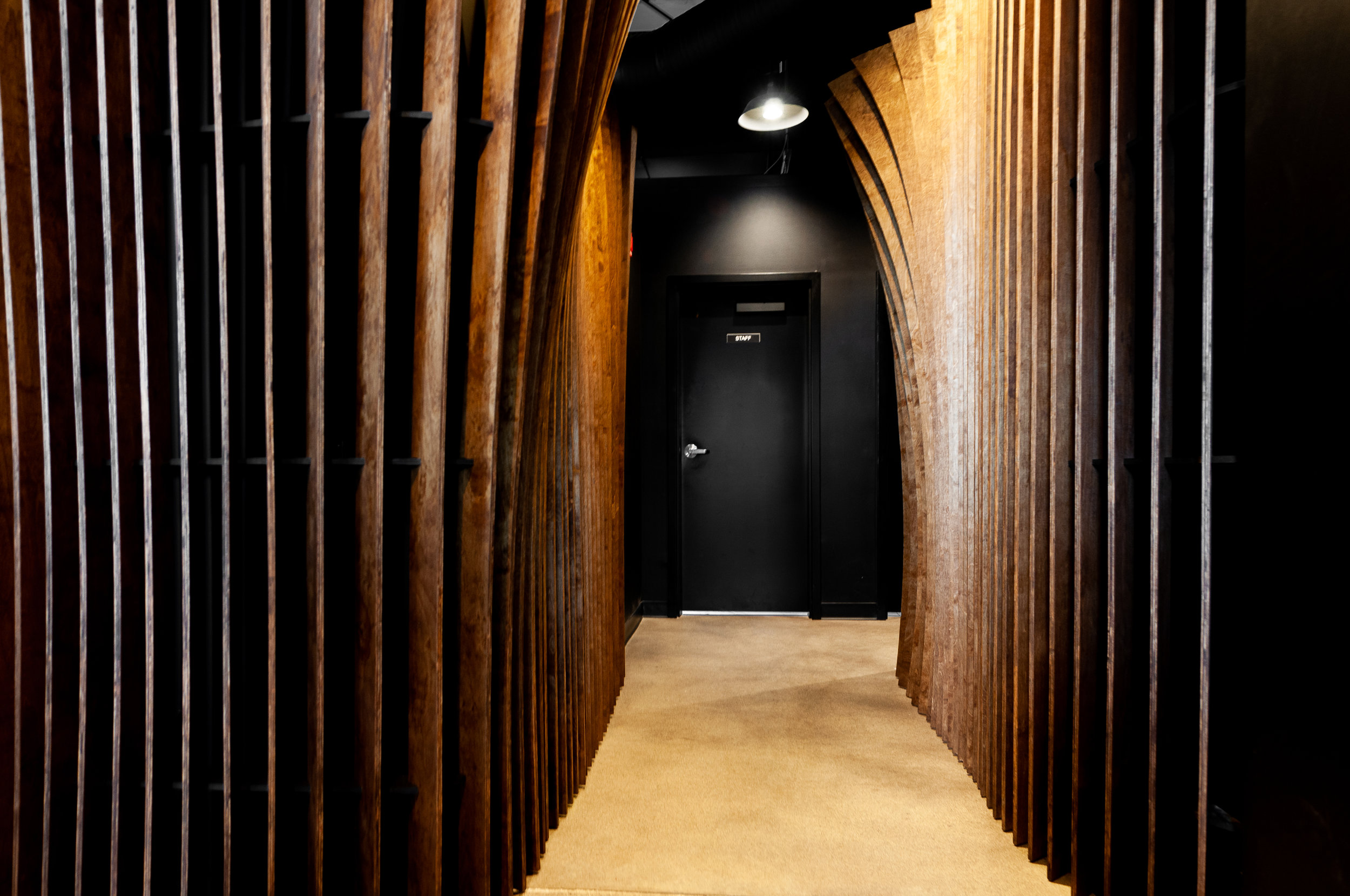 This feature hallway installation at Cera Korean Restaurant was designed to enhance the experience of diners as they make their way to the restrooms.