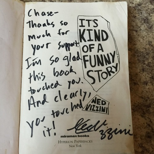 The sweet note Ned wrote in the book the day I met him.