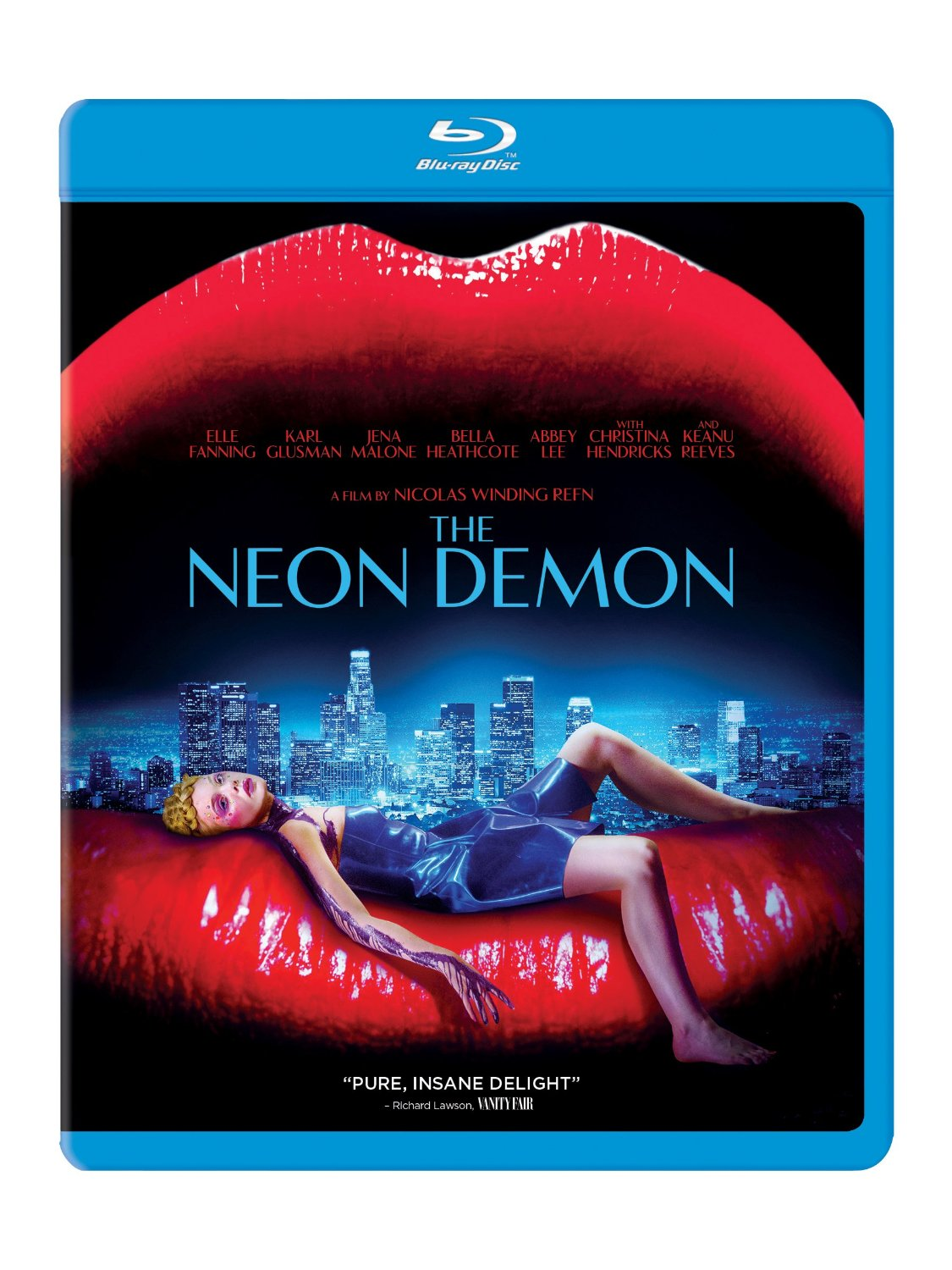 """I didn't think visionary Nicolas Winding Refn could make a worse movie until I saw THE NEON DEMON. This is a film I can't go back and give it another try to see if my feelings change. I do this with ONLY GOD FORGIVES once a year and the results are the same: I hate you. I know Refn was under a lot of pressure after the massive success of DRIVE, and he didn't want people to think he was making DRIVE 2, but casting Gosling as the silent anti-hero again kind of chopped and screwed everything. ONLY GOD FORGIVES has one of the best titles in cinema, and a few cool scenes (The quick """"Wanna fight?"""" moment is amazing), the movie forgot to have a plot and is just scenes cut together.  In NEON DEMON, Jesse (Elle Fanning), young and naive, runs away to LA to become a model. She's got natural beauty and seems to be on the right track. Then she starts to hang with a group of vicious models Ruby (Jena Malone), Gigi (Bella Heathcote), and Sarah (Abbey Lee), who understand how cutthroat the modeling business is.  Keanu Reeves makes an appearance as a pedophile apartment complex owner and his role is criminally underused. I want to see more of this vile Reeves, but we get just a glimpse.  The PR company in control of handling NEON DEMON sent press eyeballs, and you will learn why at some point in the movie. Great marketing.  NEON DEMON was co-written by two women, so I'm curious if the modeling world is really this ugly. (I sure hope not.)  If you are a Refn fan and/or model, I would say give this a rent."""