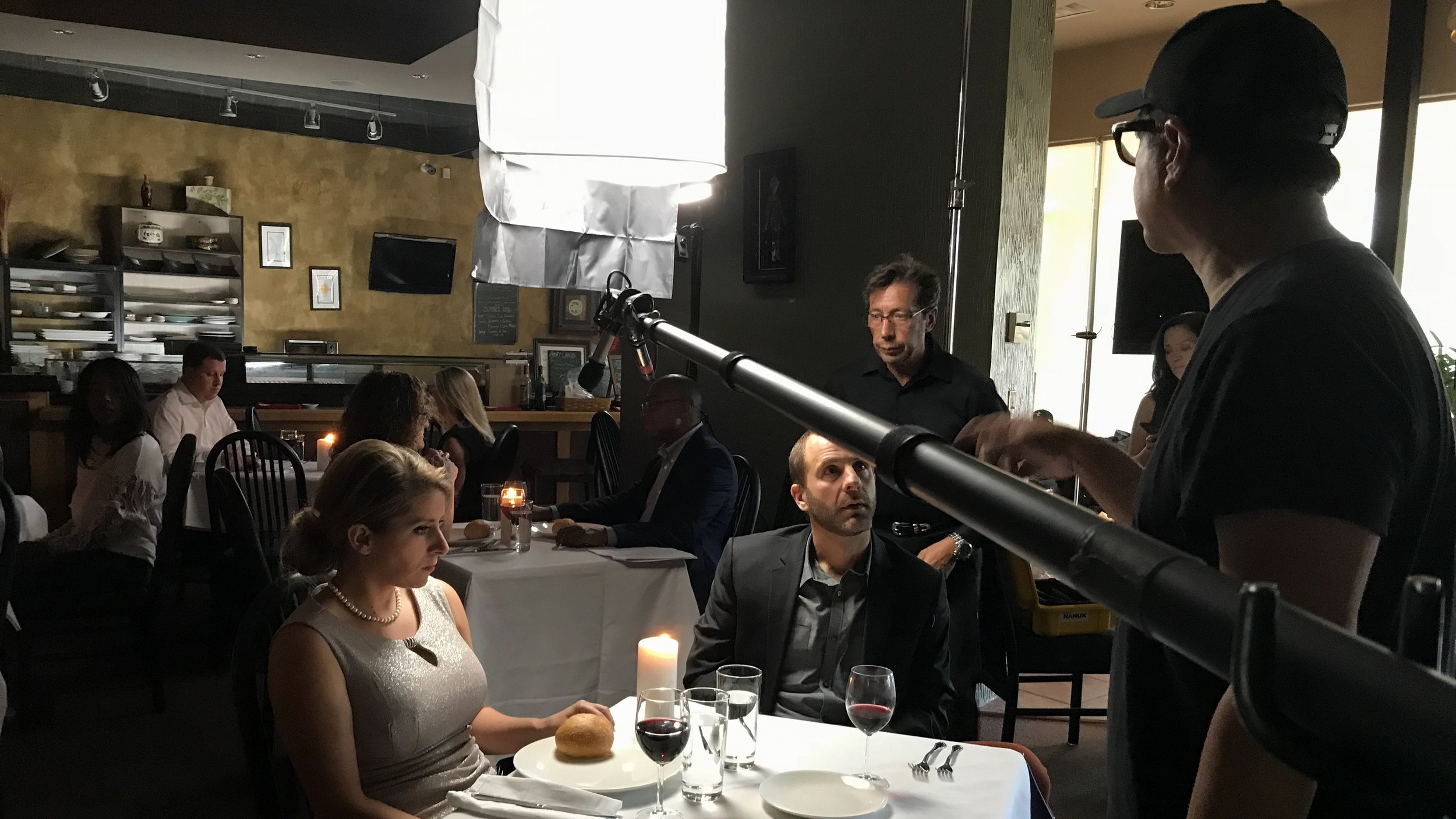 """Behind the scenes of the dinner scene from our Denver entry, """"Closure."""""""