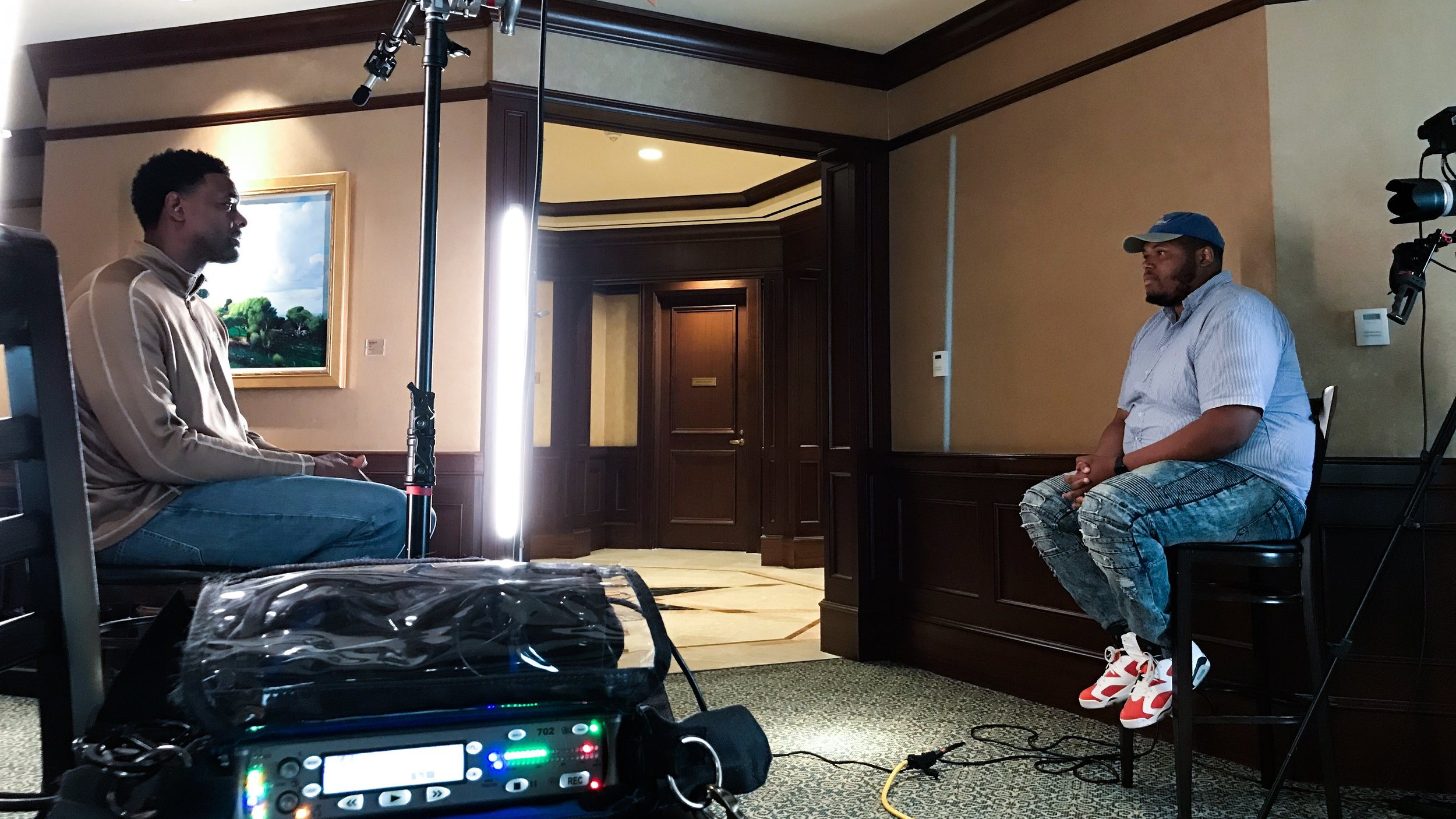 On set as our producer, Ellis, interviews former NBA great and current NBA TV/TNT analyst Chris Webber.